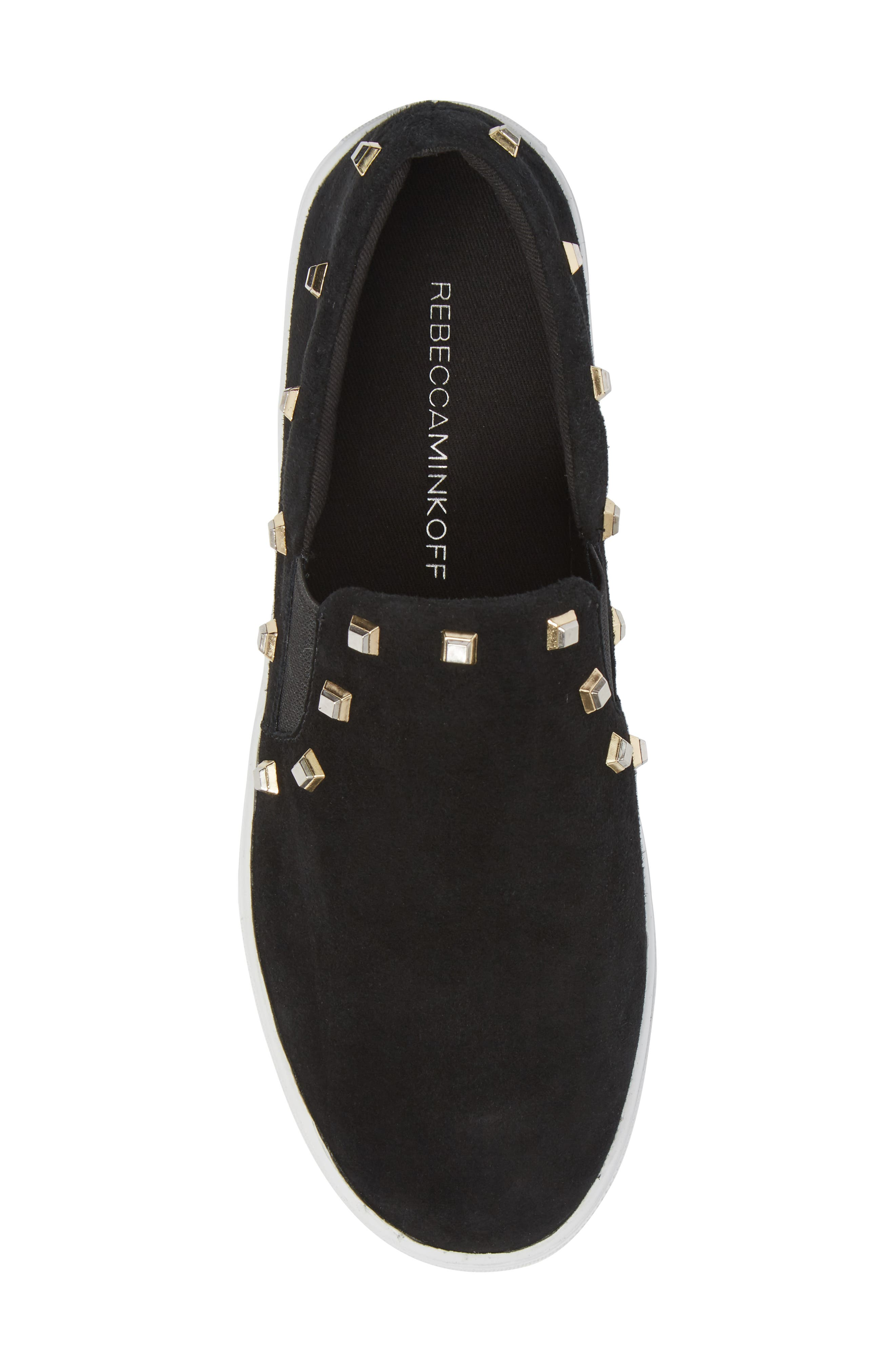Nora Stud Platform Sneaker,                             Alternate thumbnail 5, color,                             Black Suede
