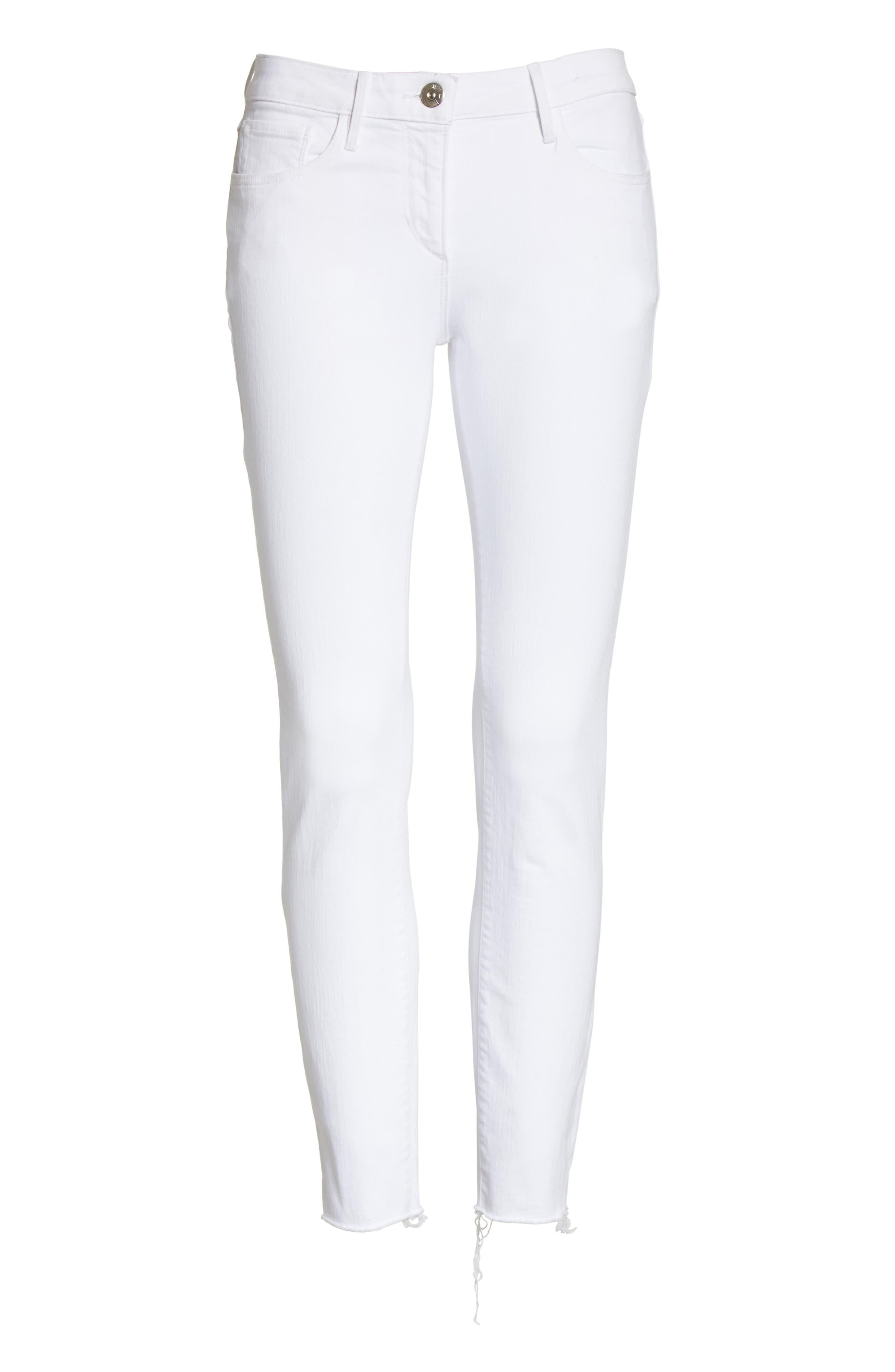W2 Crop Skinny Jeans,                             Alternate thumbnail 6, color,                             White Tear