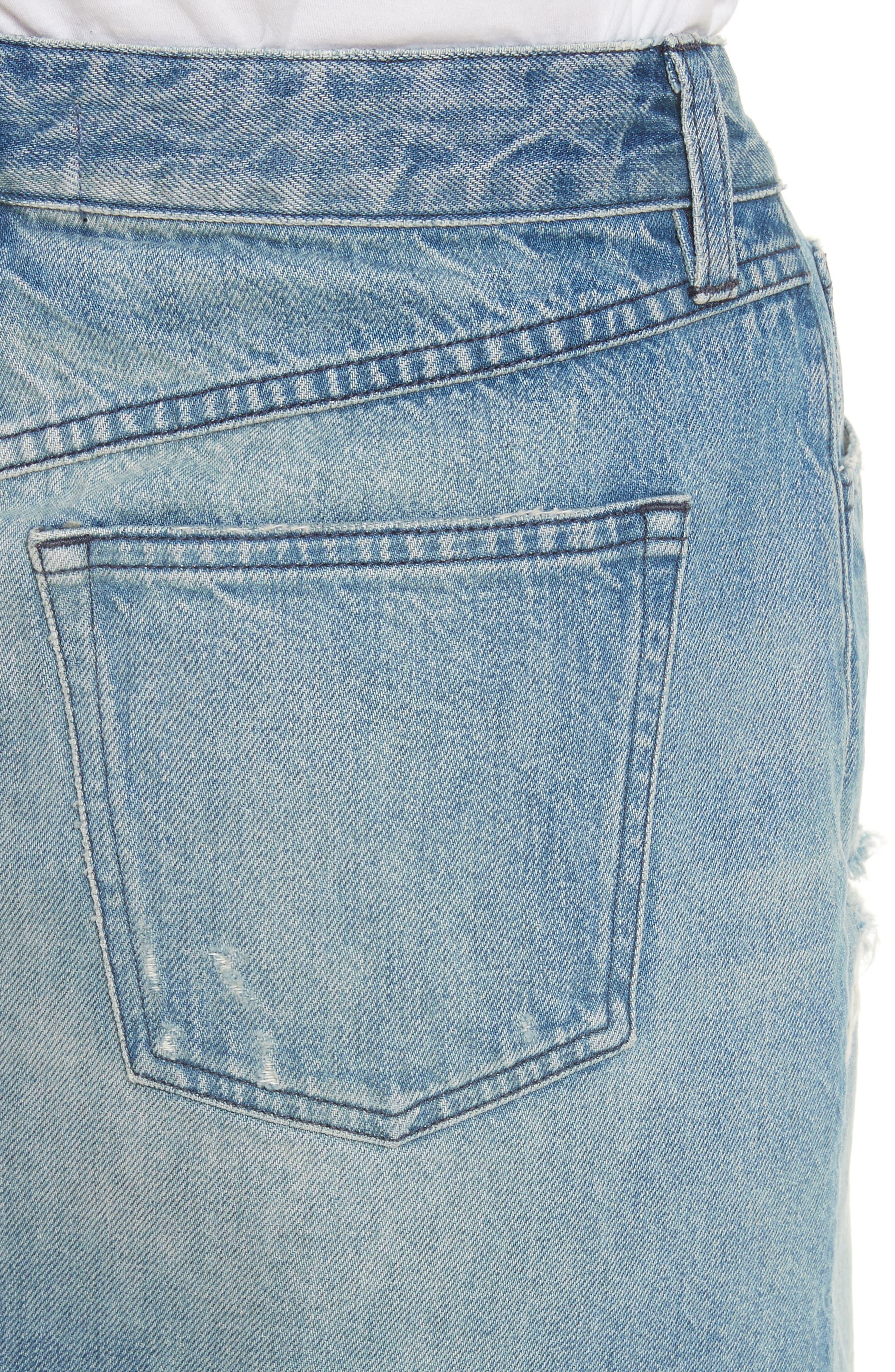 Celine Distressed Denim Skirt,                             Alternate thumbnail 4, color,                             Laz