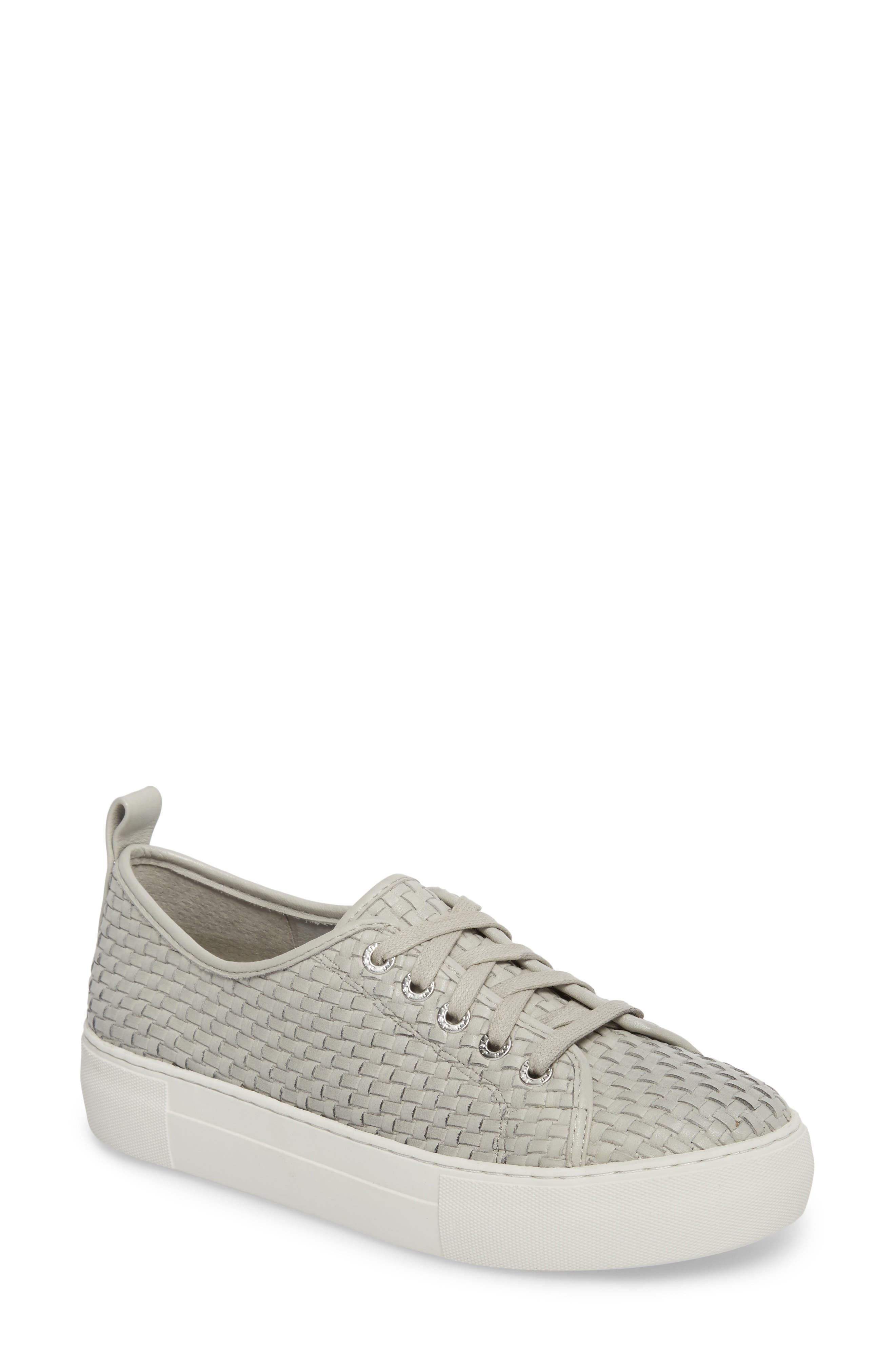 Artsy Woven Platform Sneaker,                             Main thumbnail 1, color,                             Pale Grey Leather