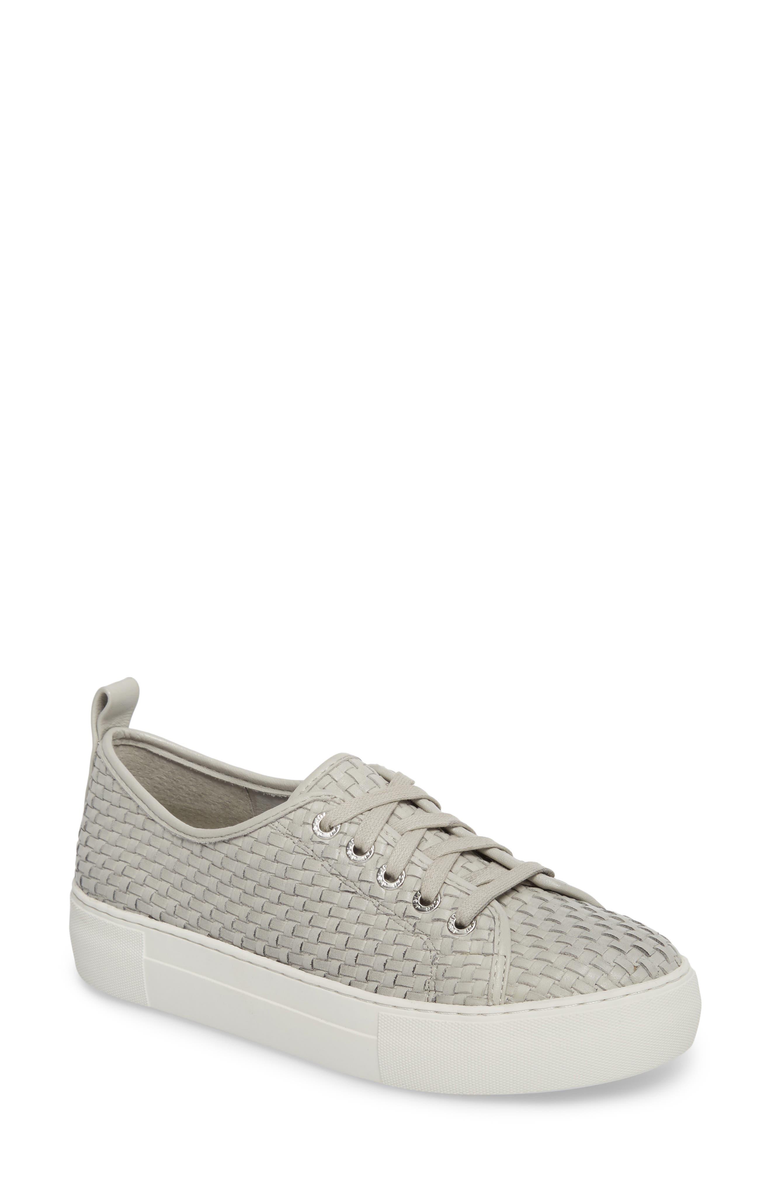 Artsy Woven Platform Sneaker,                         Main,                         color, Pale Grey Leather