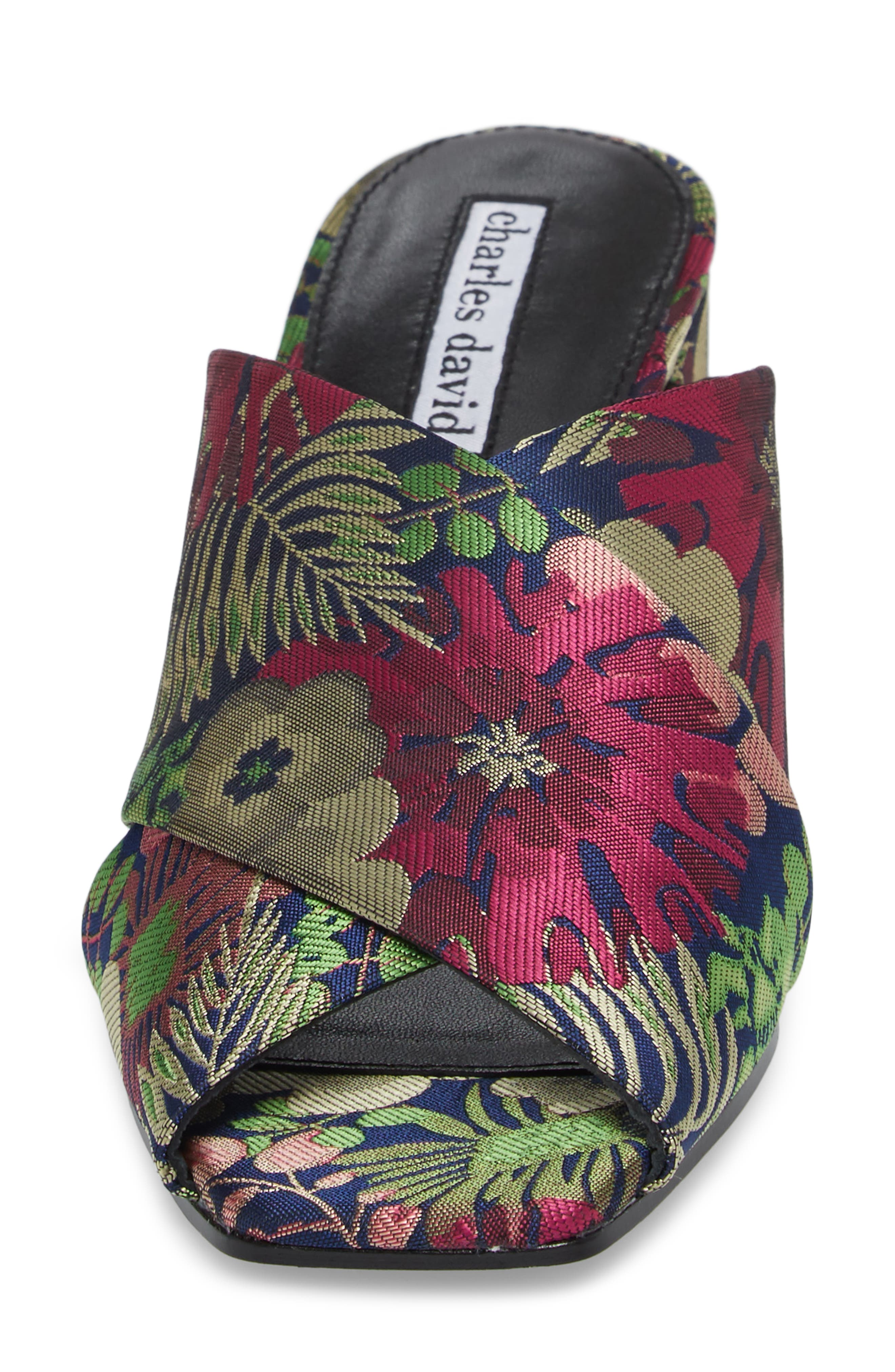 Crissaly Slide Sandal,                             Alternate thumbnail 4, color,                             Green Multi Floral Fabric