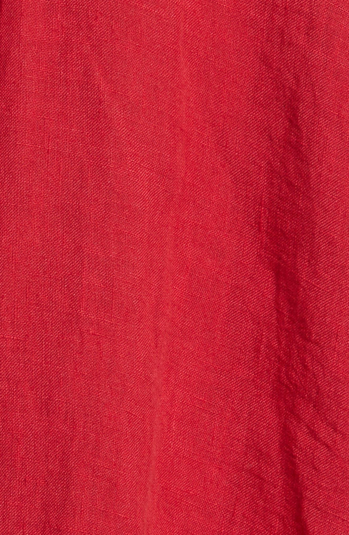 Cleo Linen Blouse,                             Alternate thumbnail 6, color,                             Red