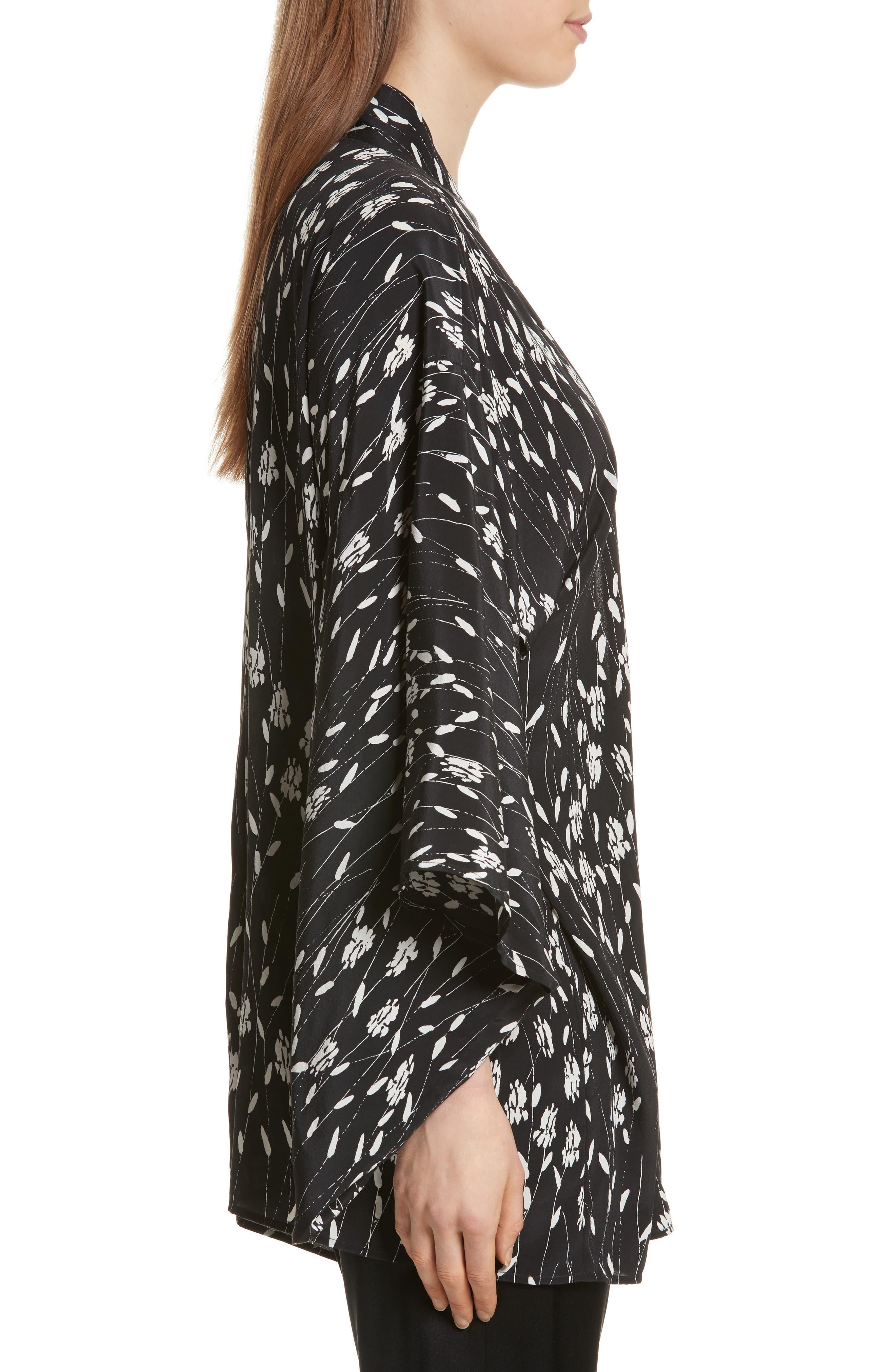 Kima Silk Cover-Up Kimono,                             Alternate thumbnail 3, color,                             Black