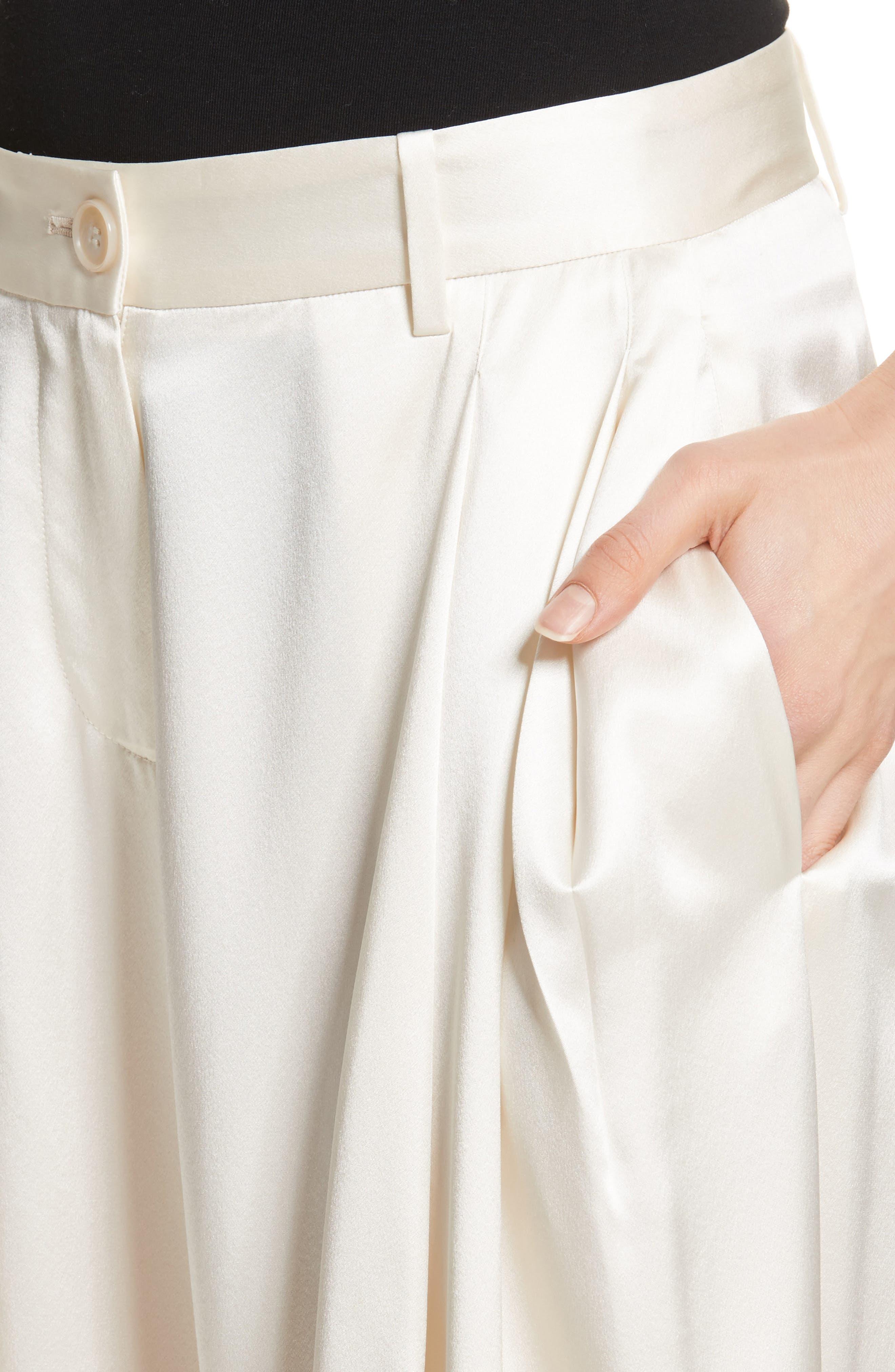 Seville Wide Leg Silk Pants,                             Alternate thumbnail 5, color,                             Ivory