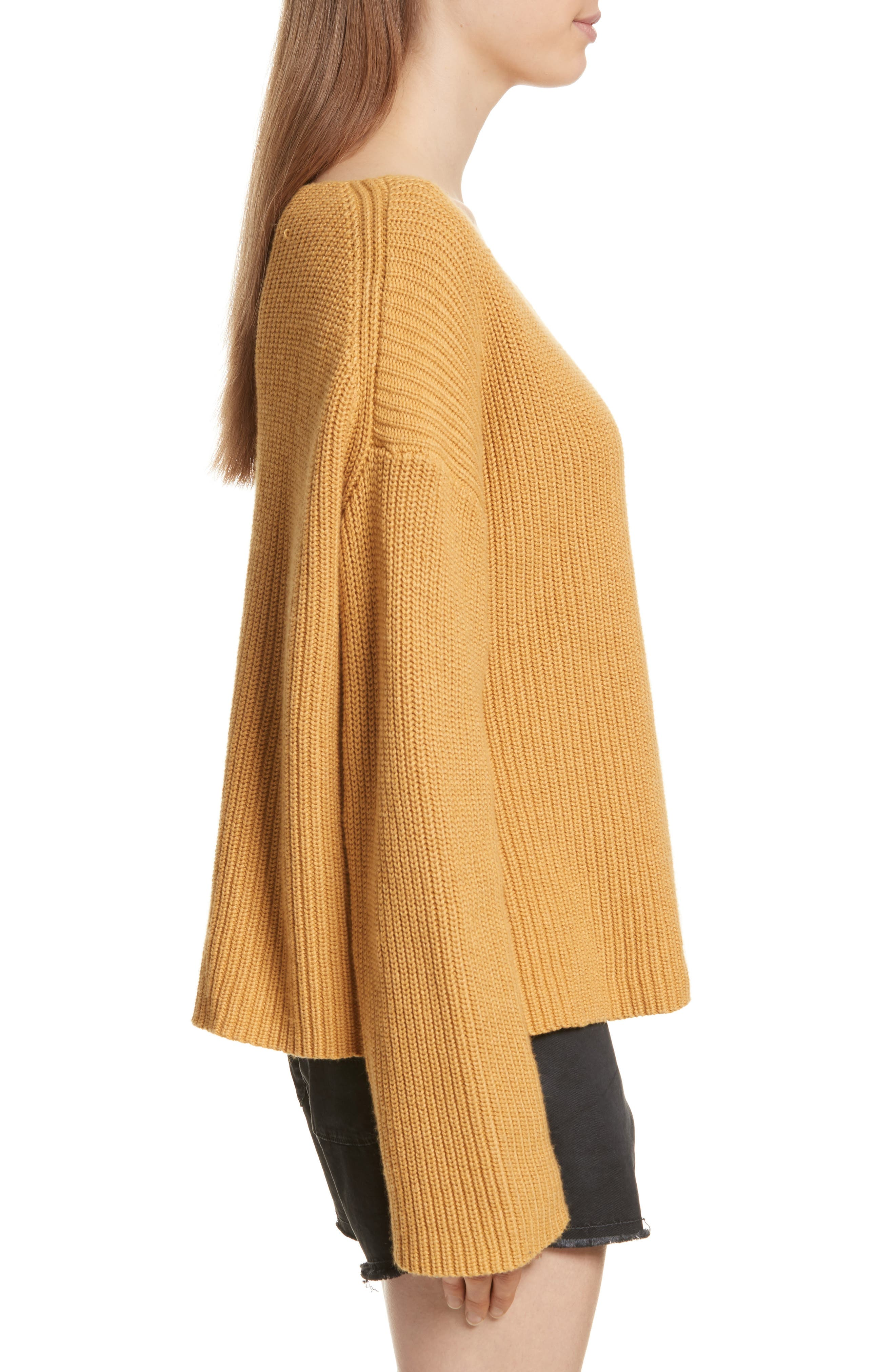 Martindale Ribbed Cotton, Cashmere & Silk Sweater,                             Alternate thumbnail 3, color,                             Mustard