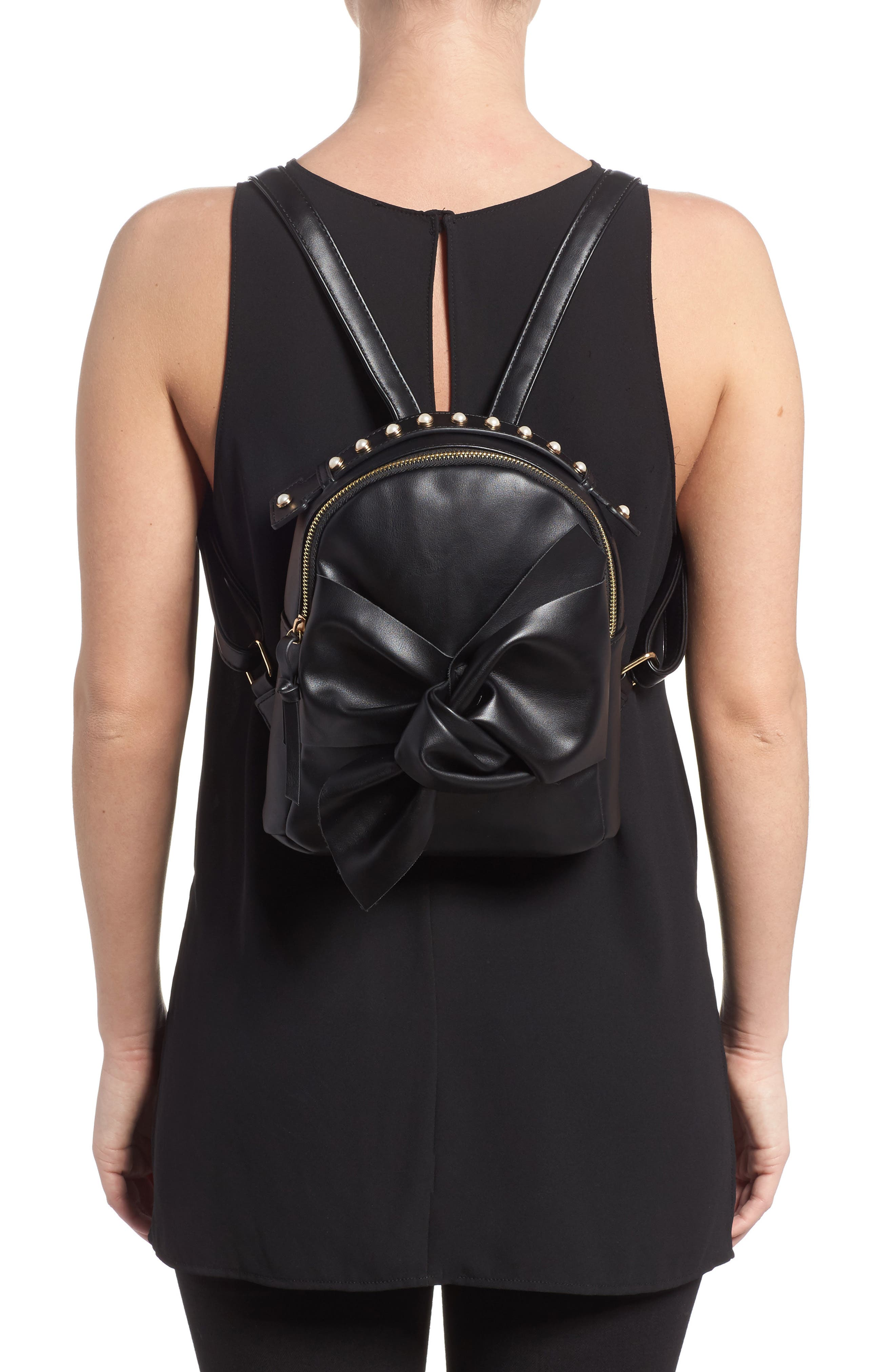 Imitation Pearl Handle Bow Mini Backpack,                             Alternate thumbnail 2, color,                             Black