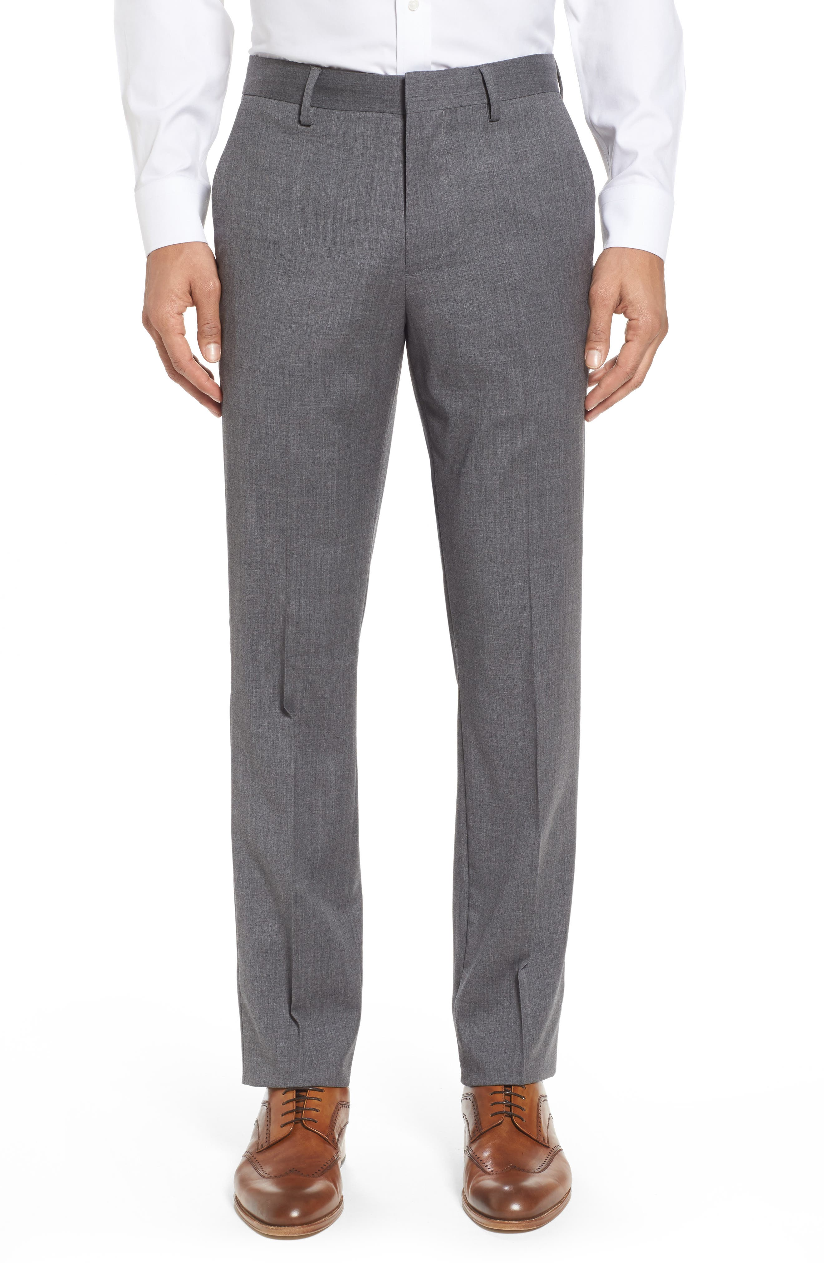Jetsetter Slim Fit Flat Front Stretch Wool Trousers,                             Main thumbnail 1, color,                             Grey