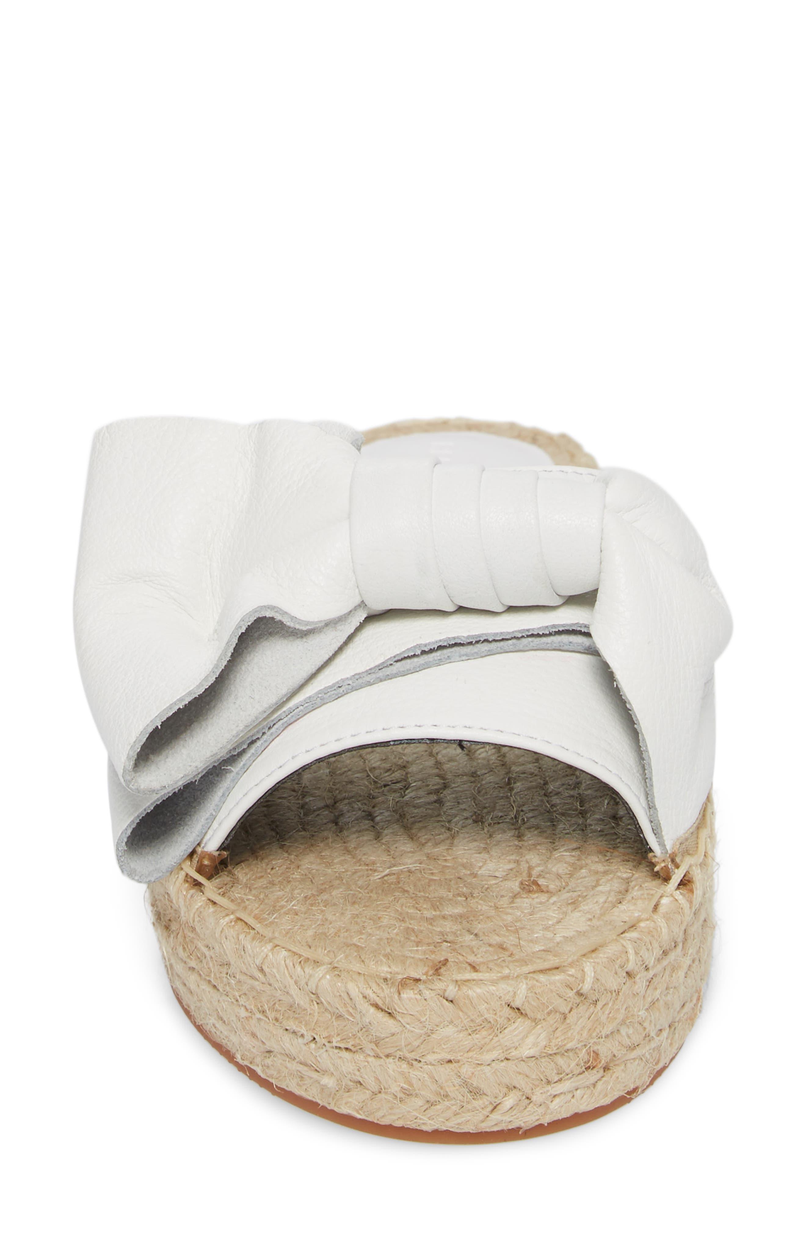 Giana Bow Slide Sandal,                             Alternate thumbnail 4, color,                             Optic White Leather