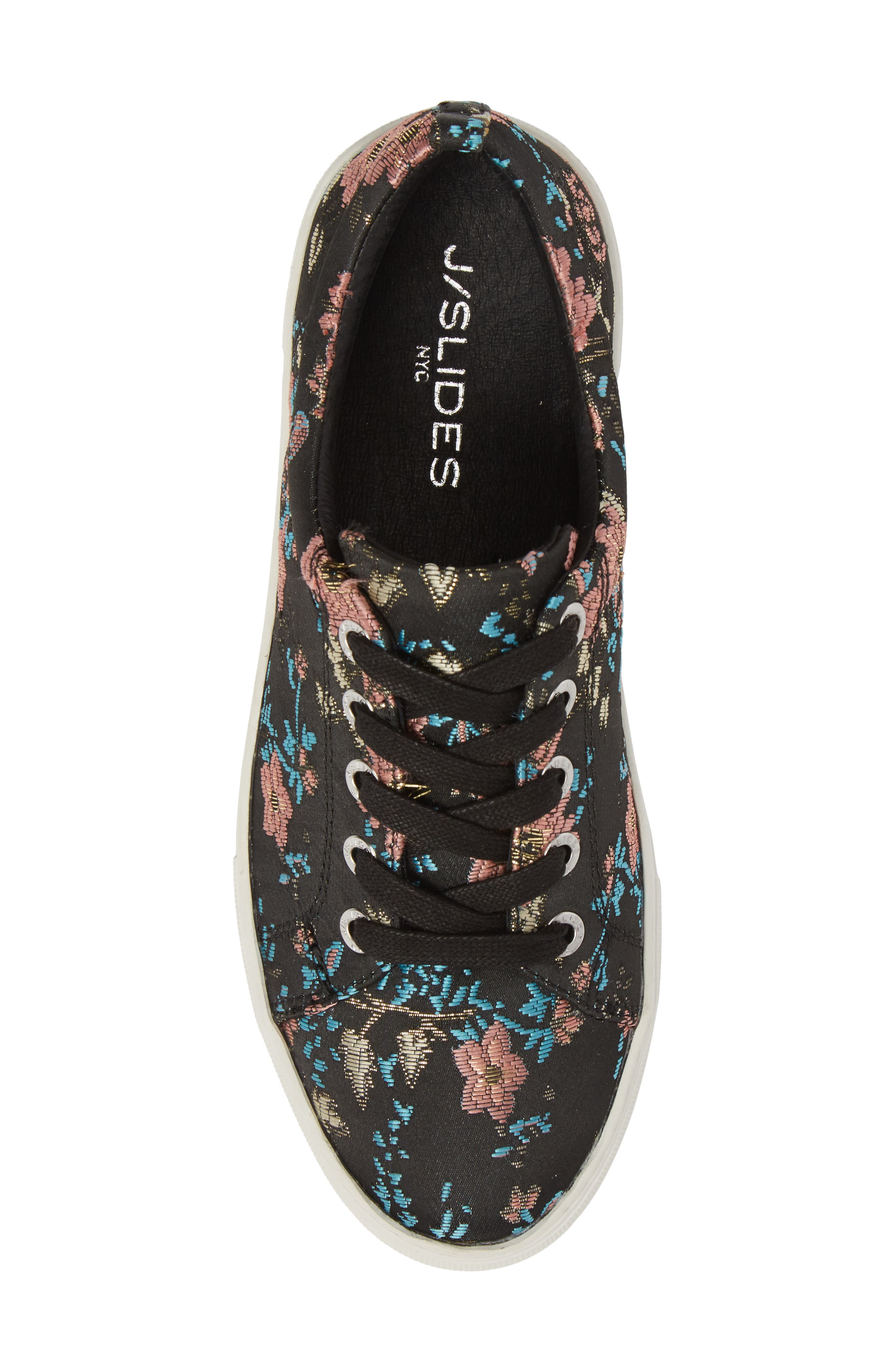Assure Embroidered Platform Sneaker,                             Alternate thumbnail 5, color,                             Black Printed Fabric