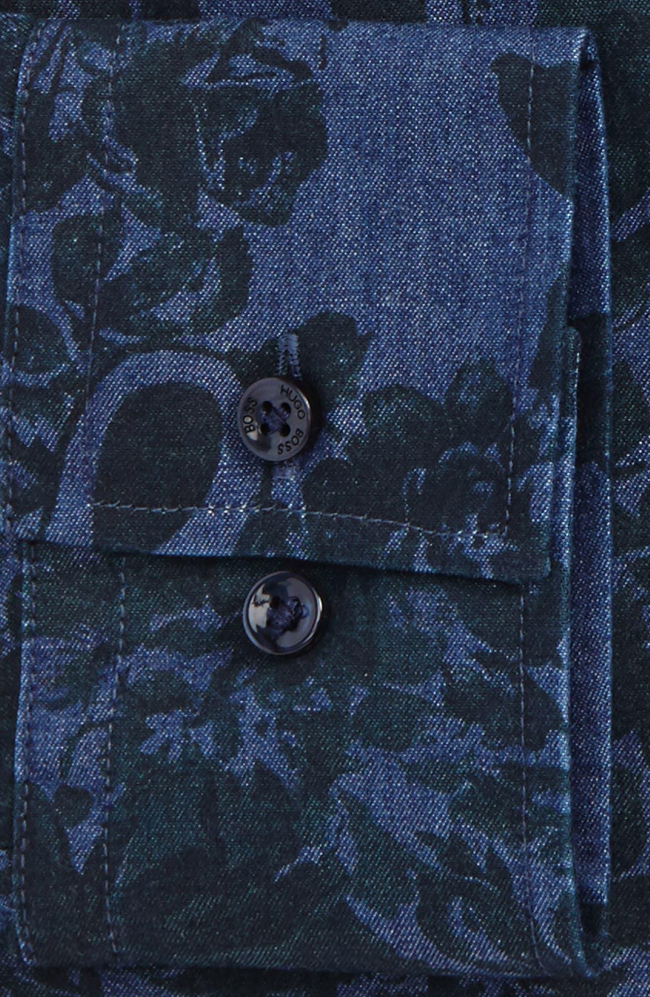 Slim Fit Floral Dress Shirt,                             Alternate thumbnail 2, color,                             Green