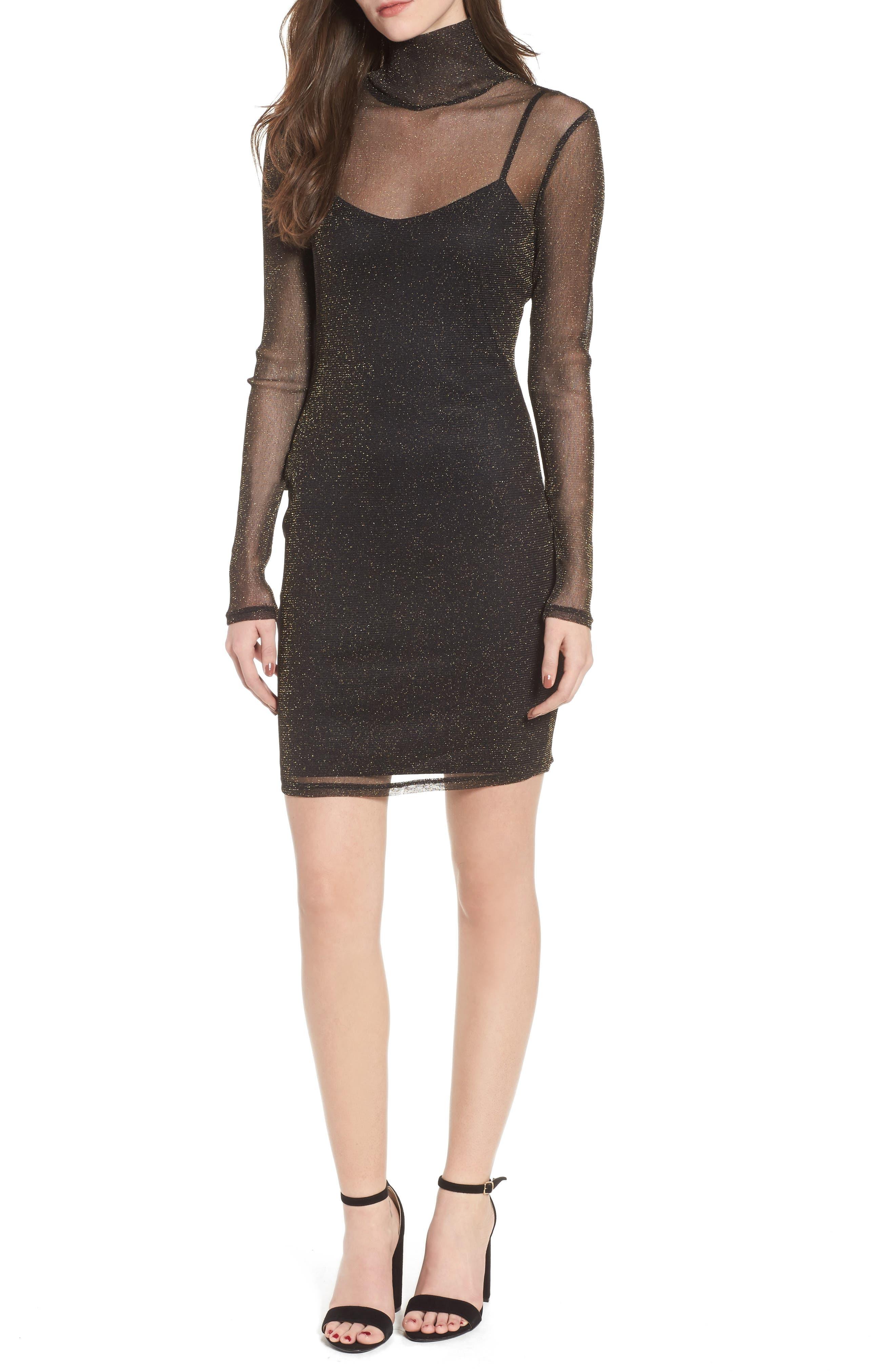 Metallic Mesh Body-Con Dress,                         Main,                         color, Gold Combo