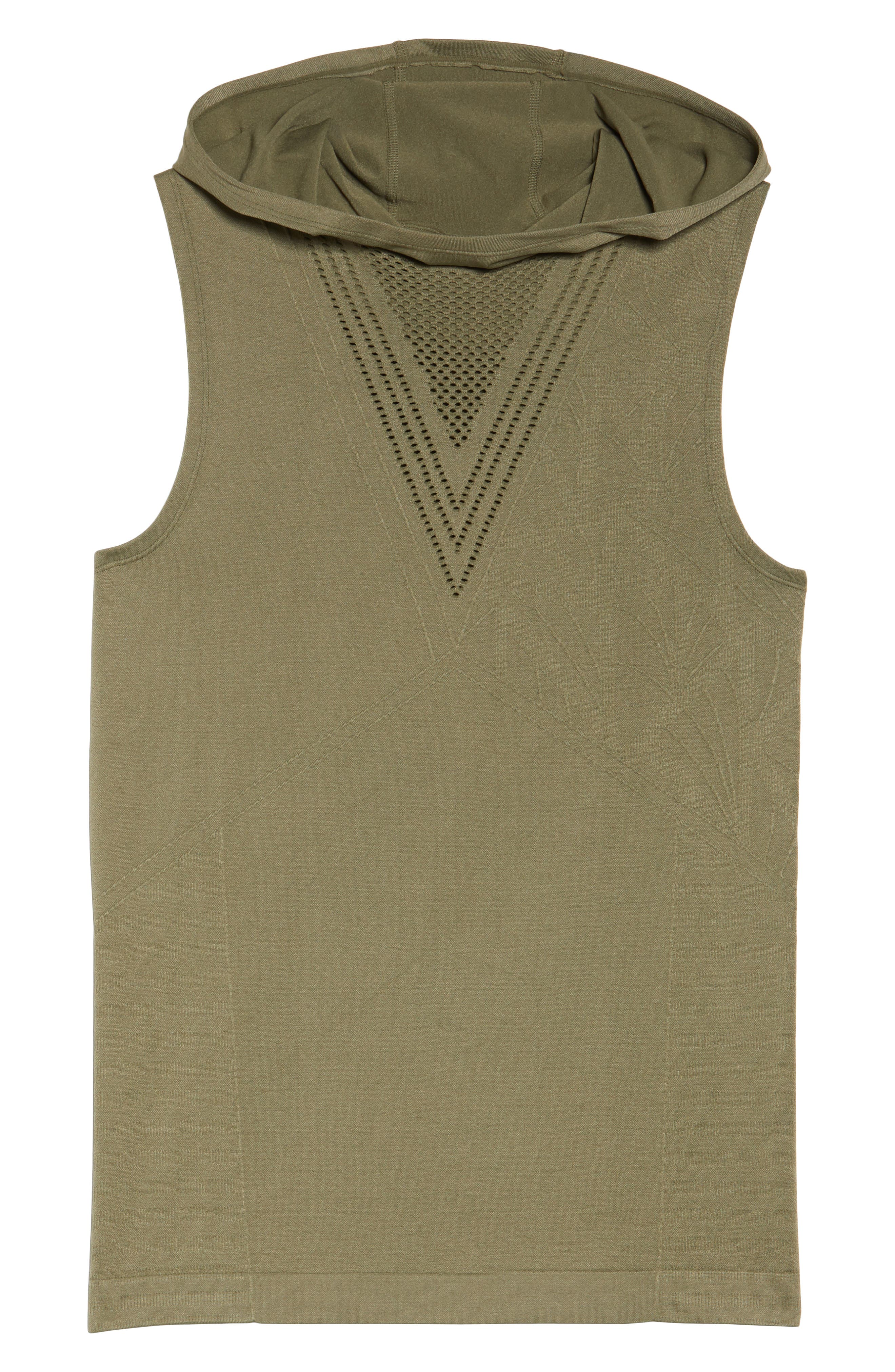 Velocity Sleeveless Hoodie,                             Alternate thumbnail 7, color,                             Deep Lichen Green