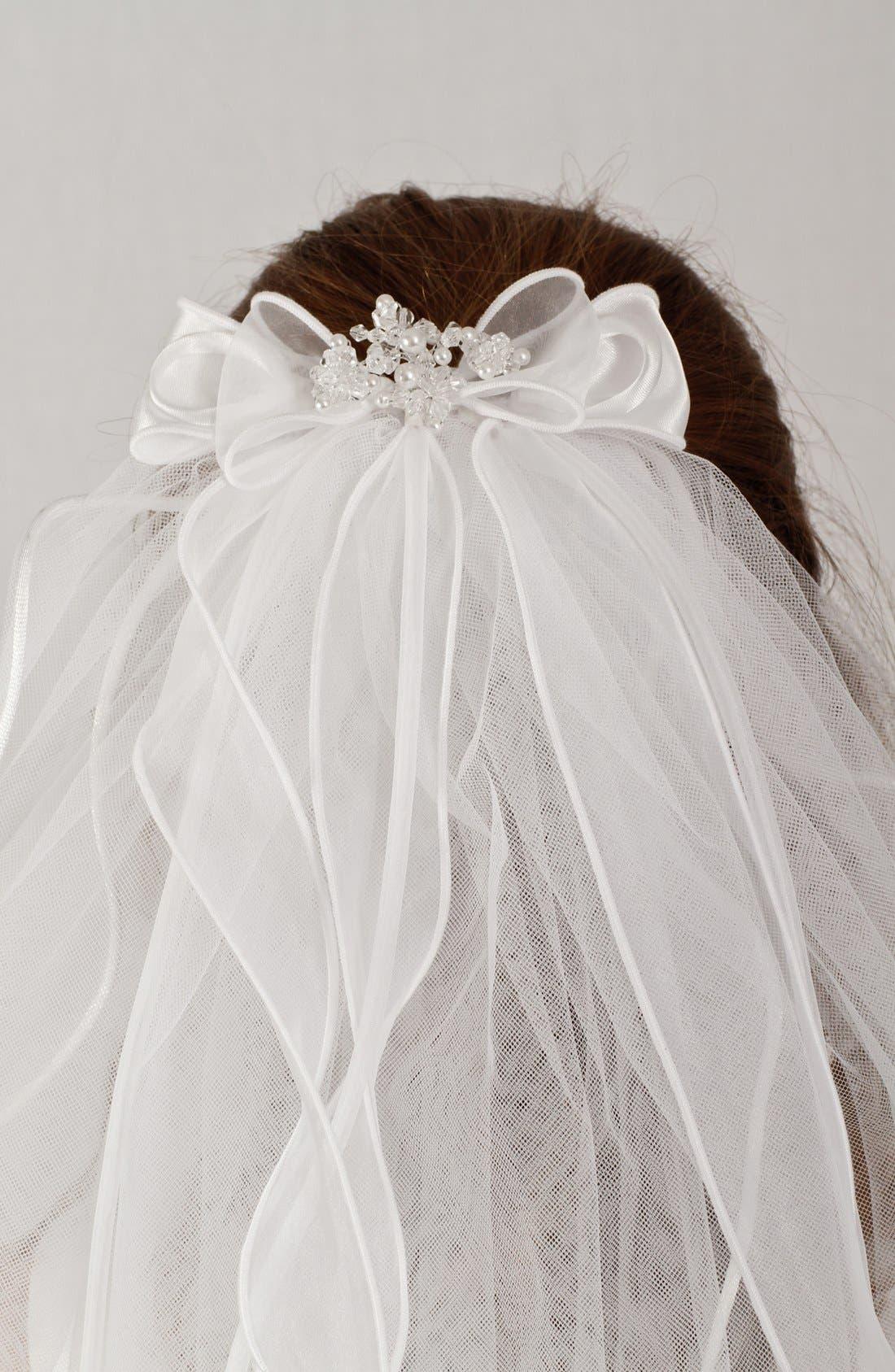 Alternate Image 4  - Lauren Marie Organza Bow Veil (Girls)