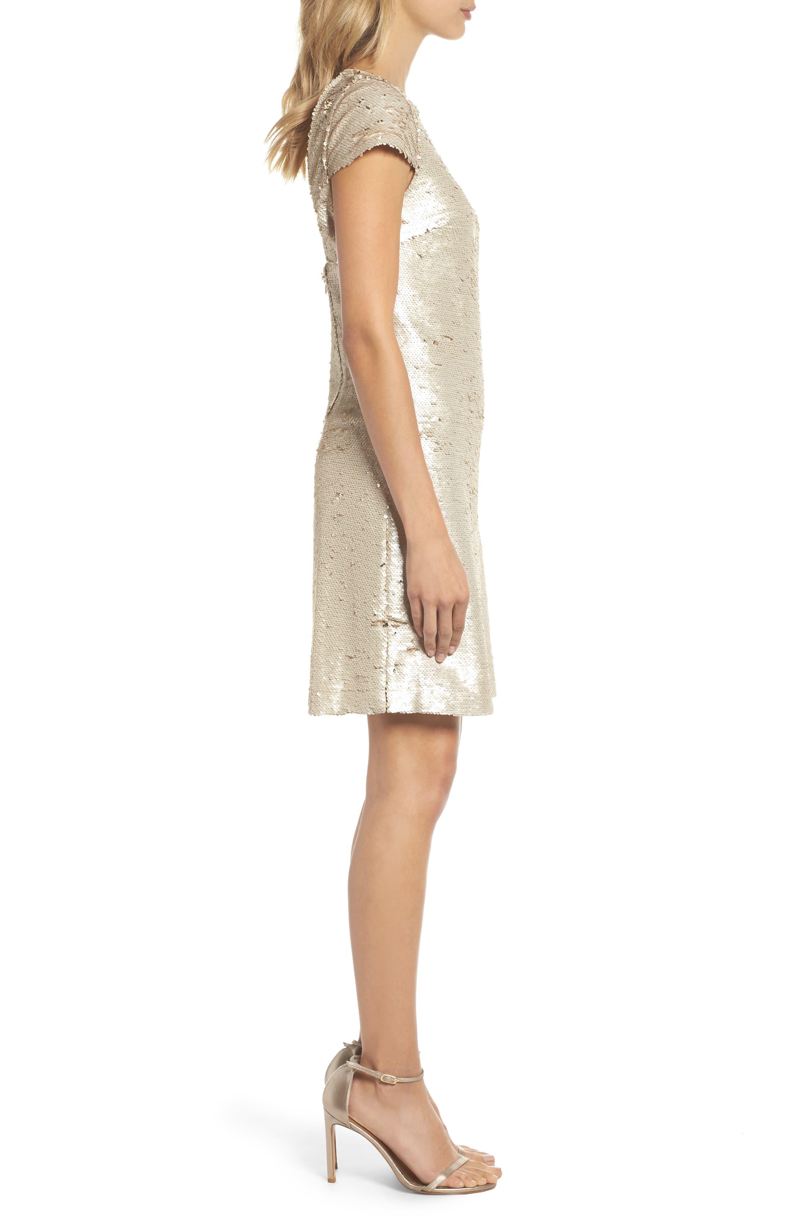 Sequin Sheath Dress,                             Alternate thumbnail 3, color,                             Champagne