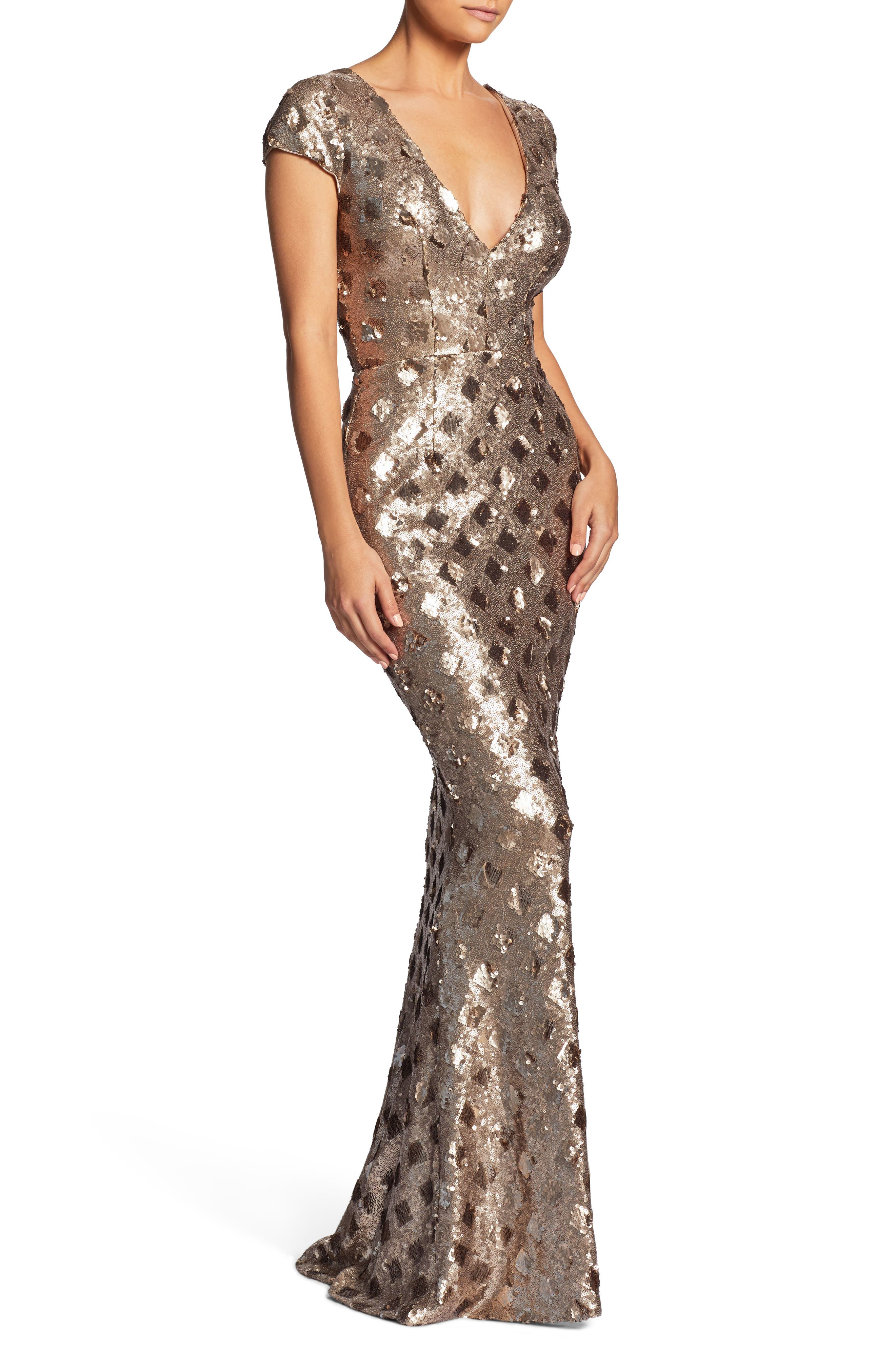 Lina Patterned Sequin Trumpet Gown,                             Alternate thumbnail 3, color,                             Brass