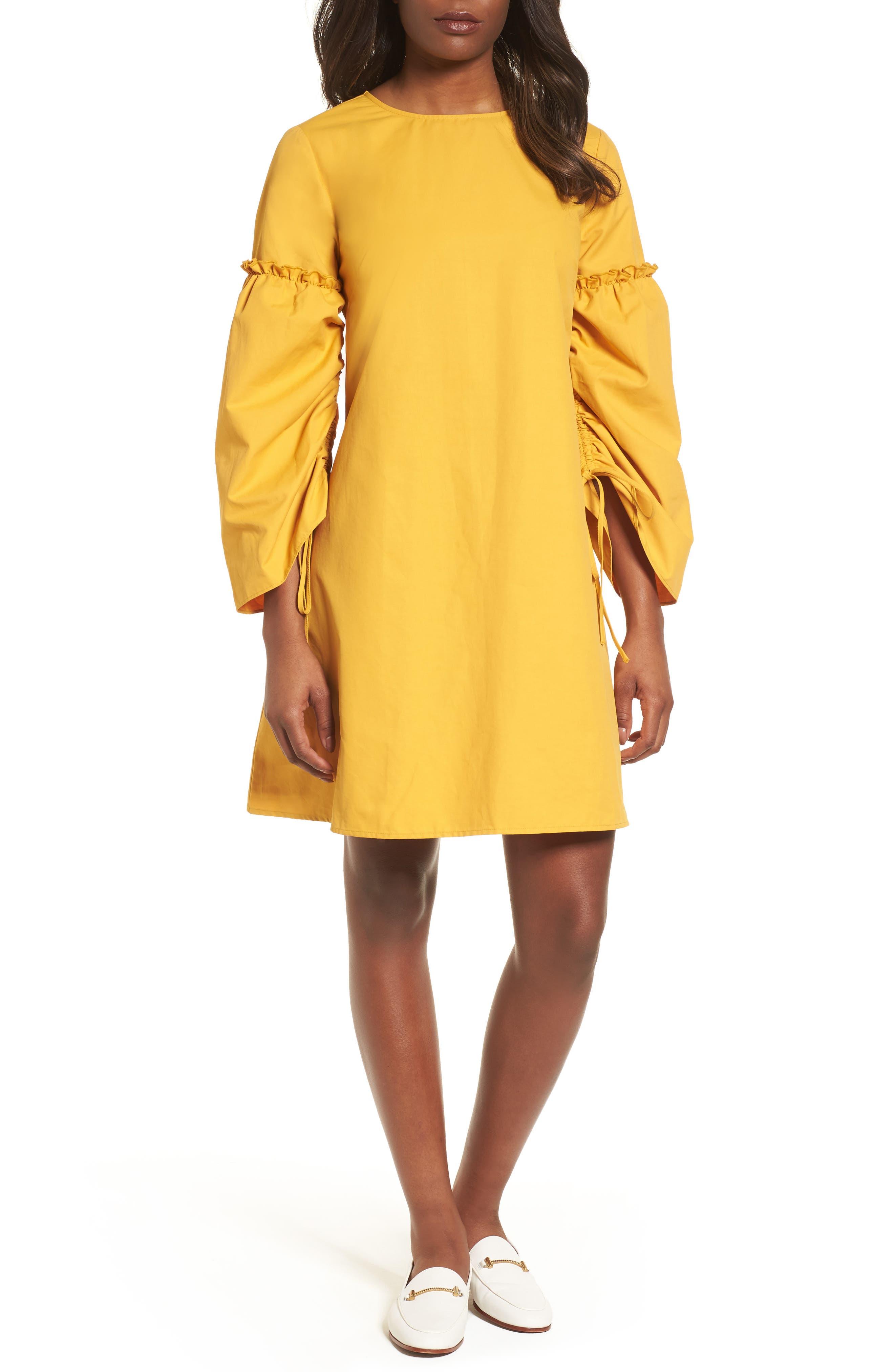 Parachute Sleeve Shift Dress,                             Main thumbnail 1, color,                             Yellow Mineral