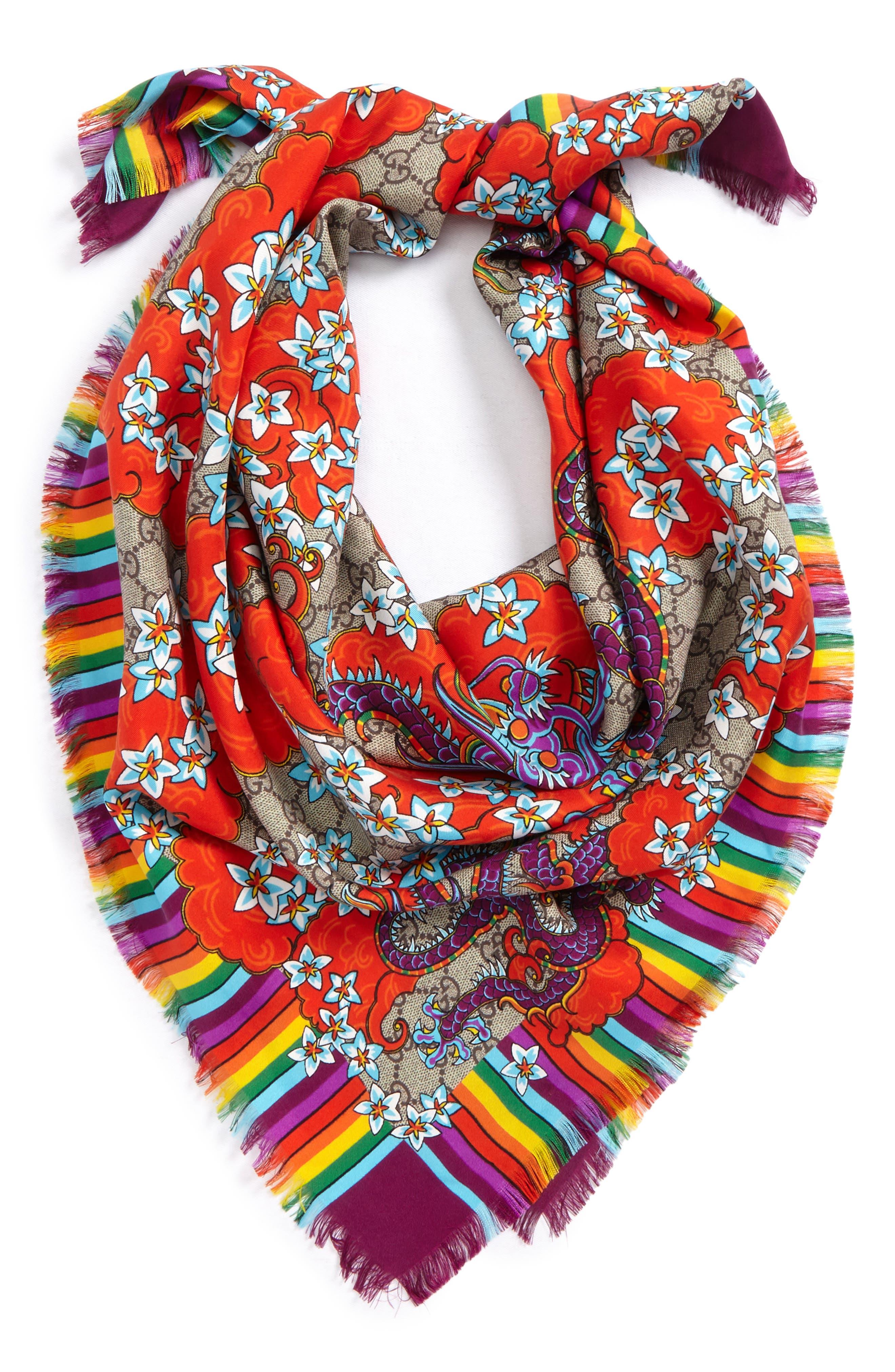Alternate Image 2  - Gucci GG Dragon Rainbow Foulard Silk Scarf