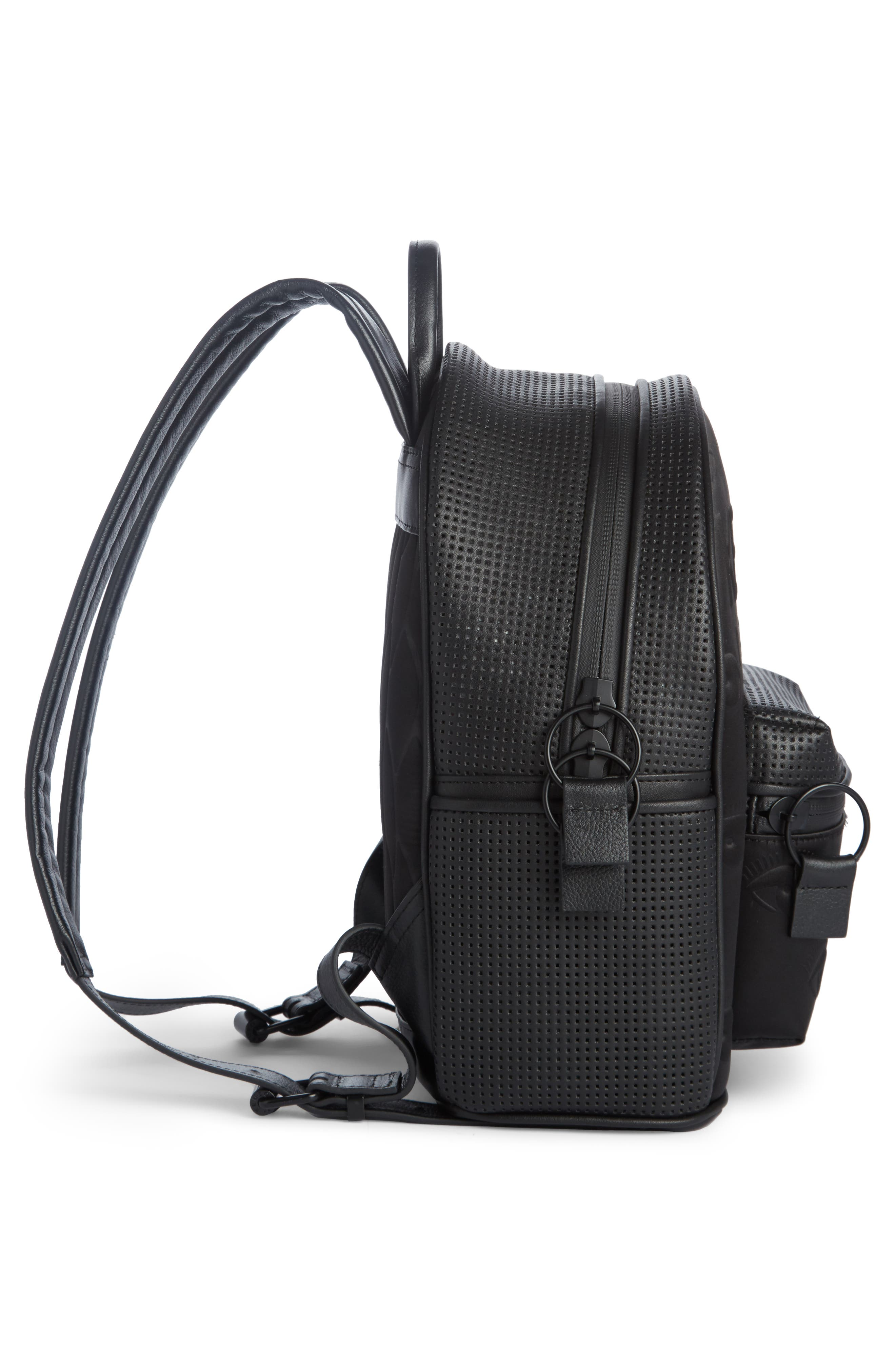 Eyes Perforated Nylon Backpack,                             Alternate thumbnail 3, color,                             Black