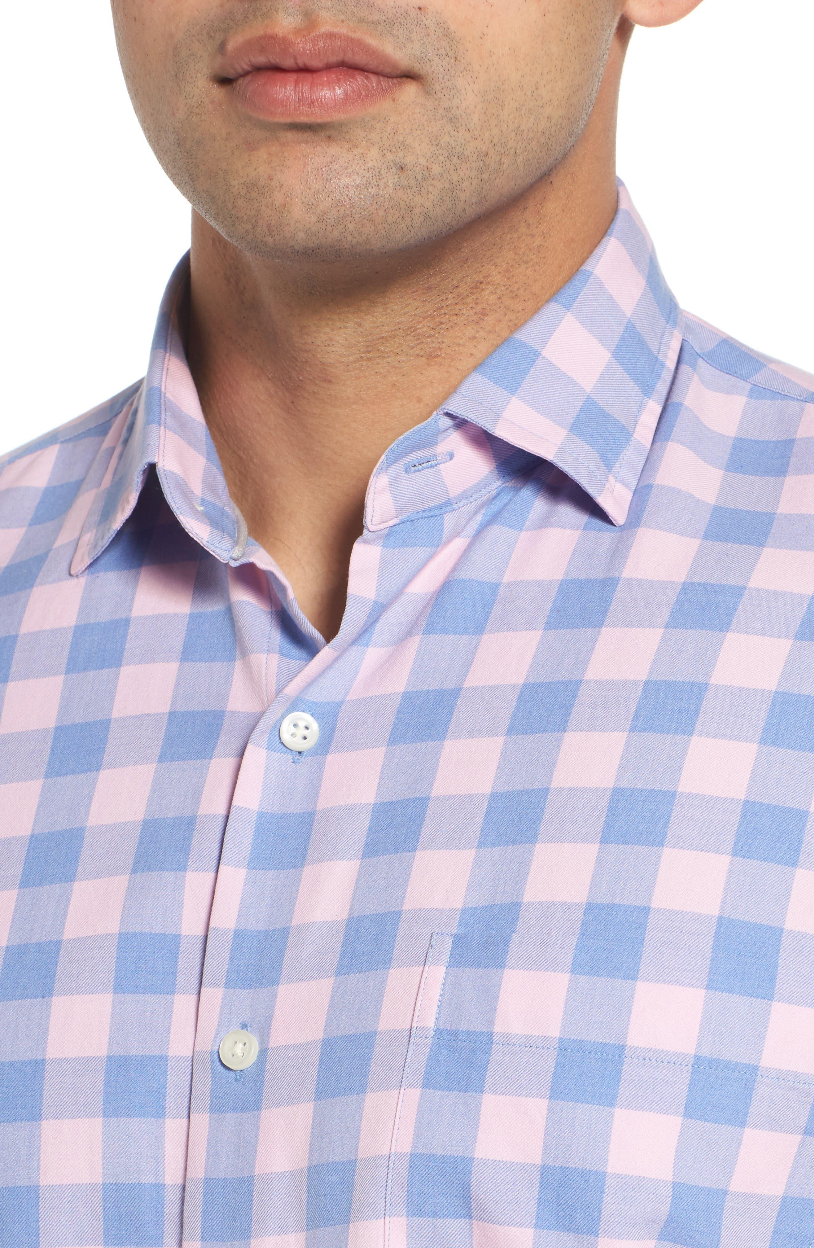 Seaglass Gingham Check Sport Shirt,                             Alternate thumbnail 4, color,                             Bonnet