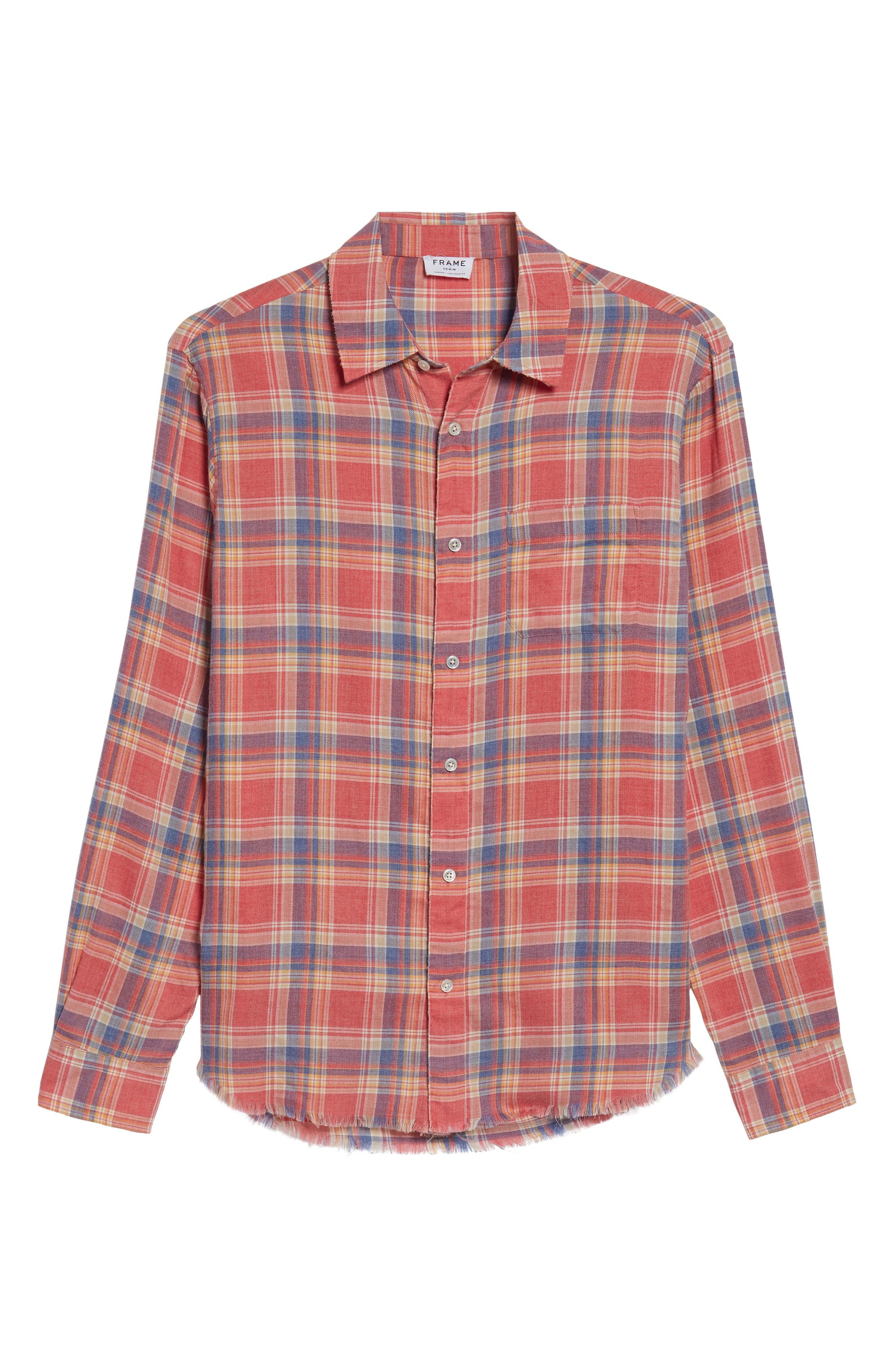 Fray Hem Plaid Flannel Shirt,                             Alternate thumbnail 6, color,                             Dark Pink Check