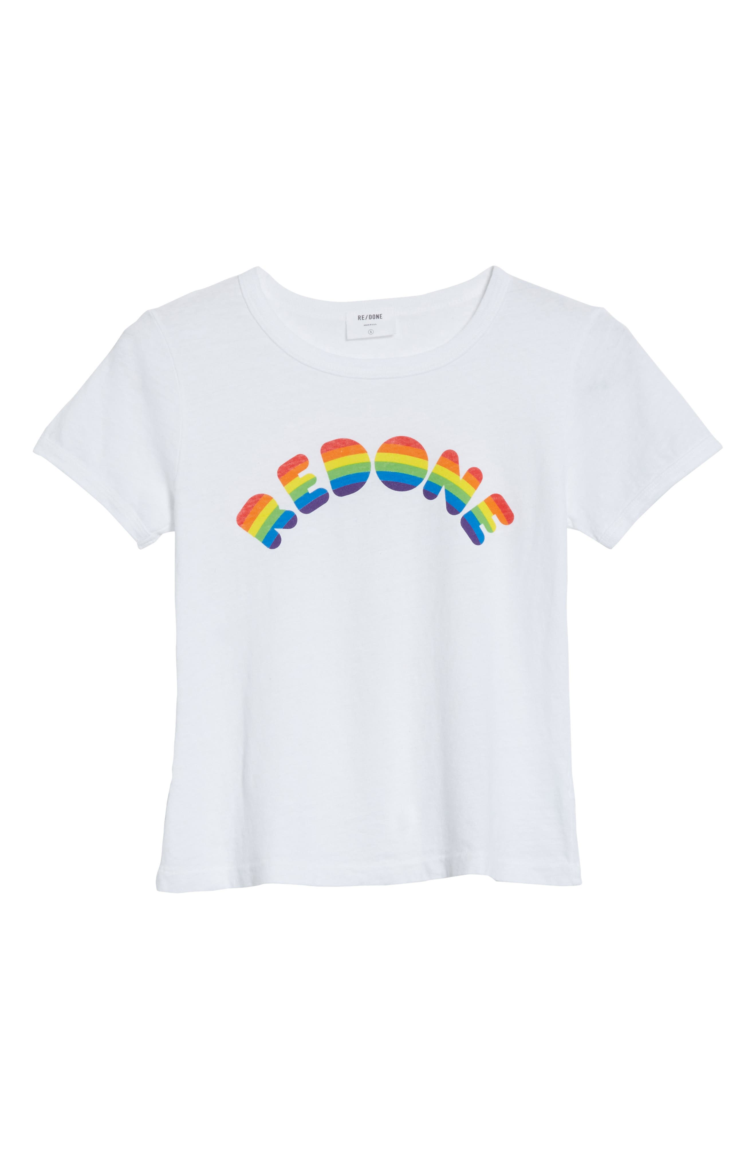 Rainbow Graphic Tee,                             Alternate thumbnail 6, color,                             Optic White