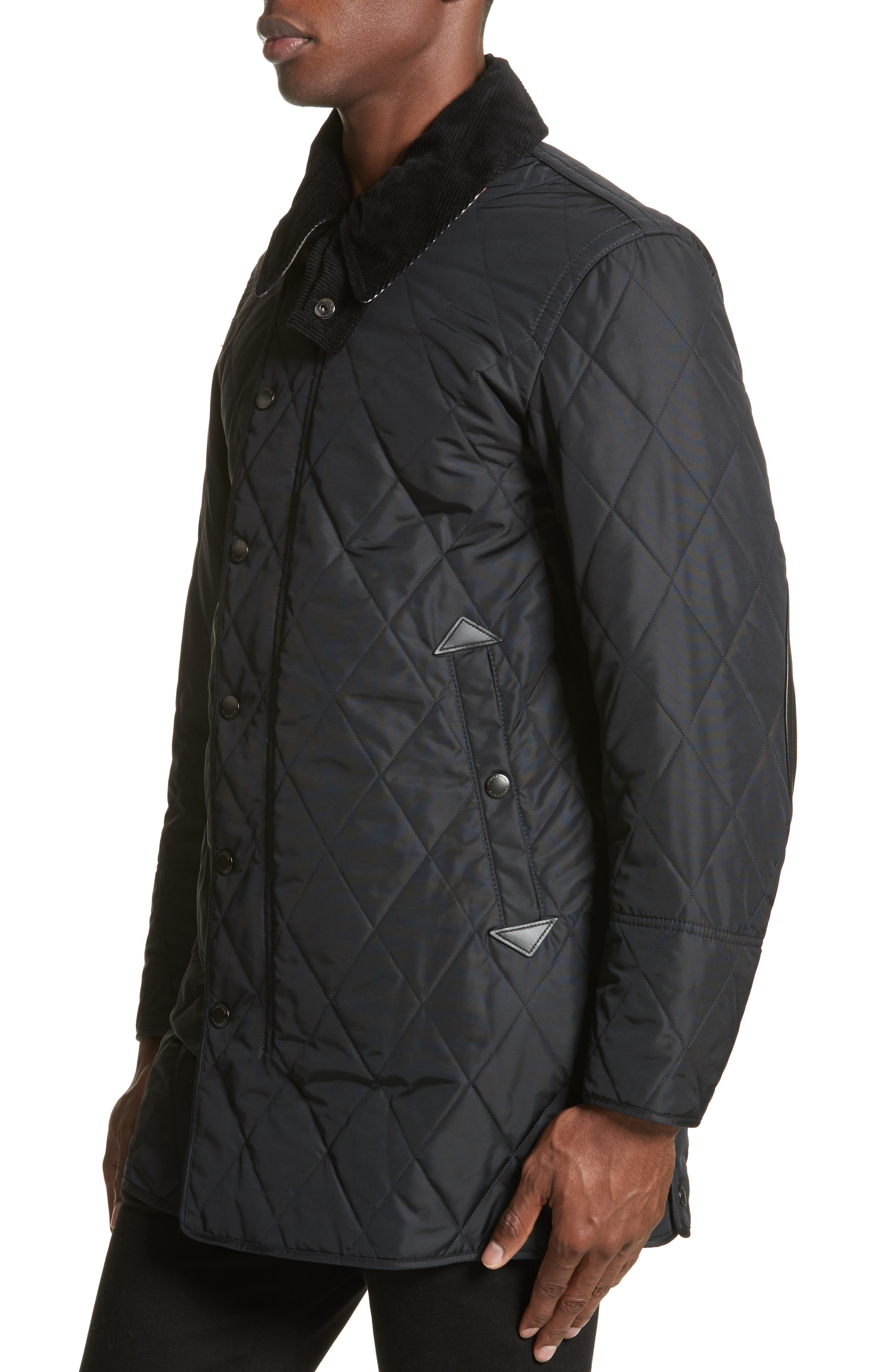Northumberland Quilted Barn Jacket,                             Alternate thumbnail 4, color,                             Navy