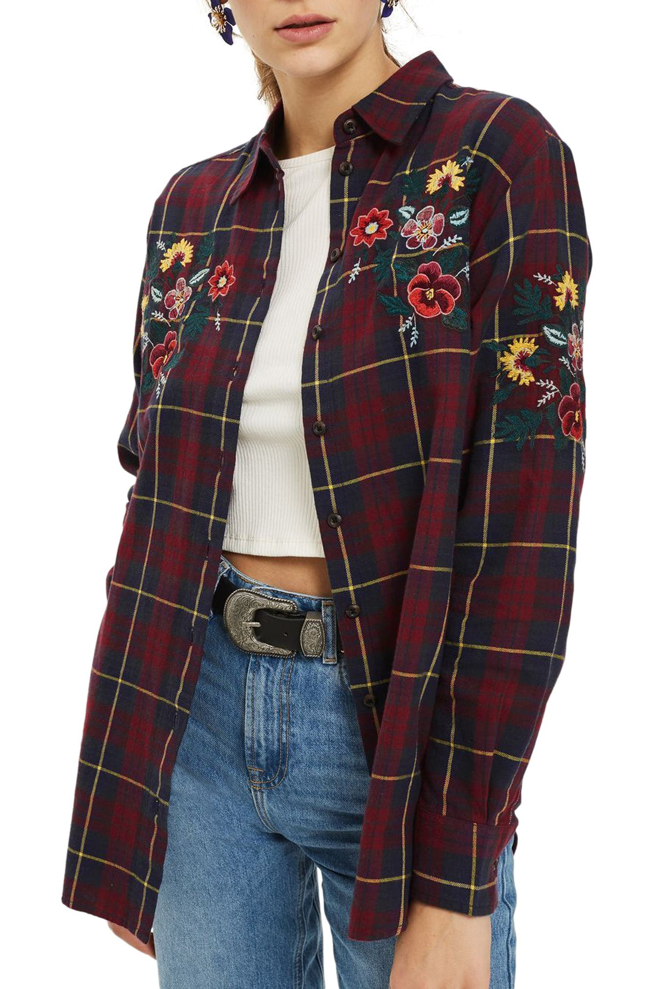 Floral Embroidered Check Shirt,                             Main thumbnail 1, color,                             Navy Blue Multi 2