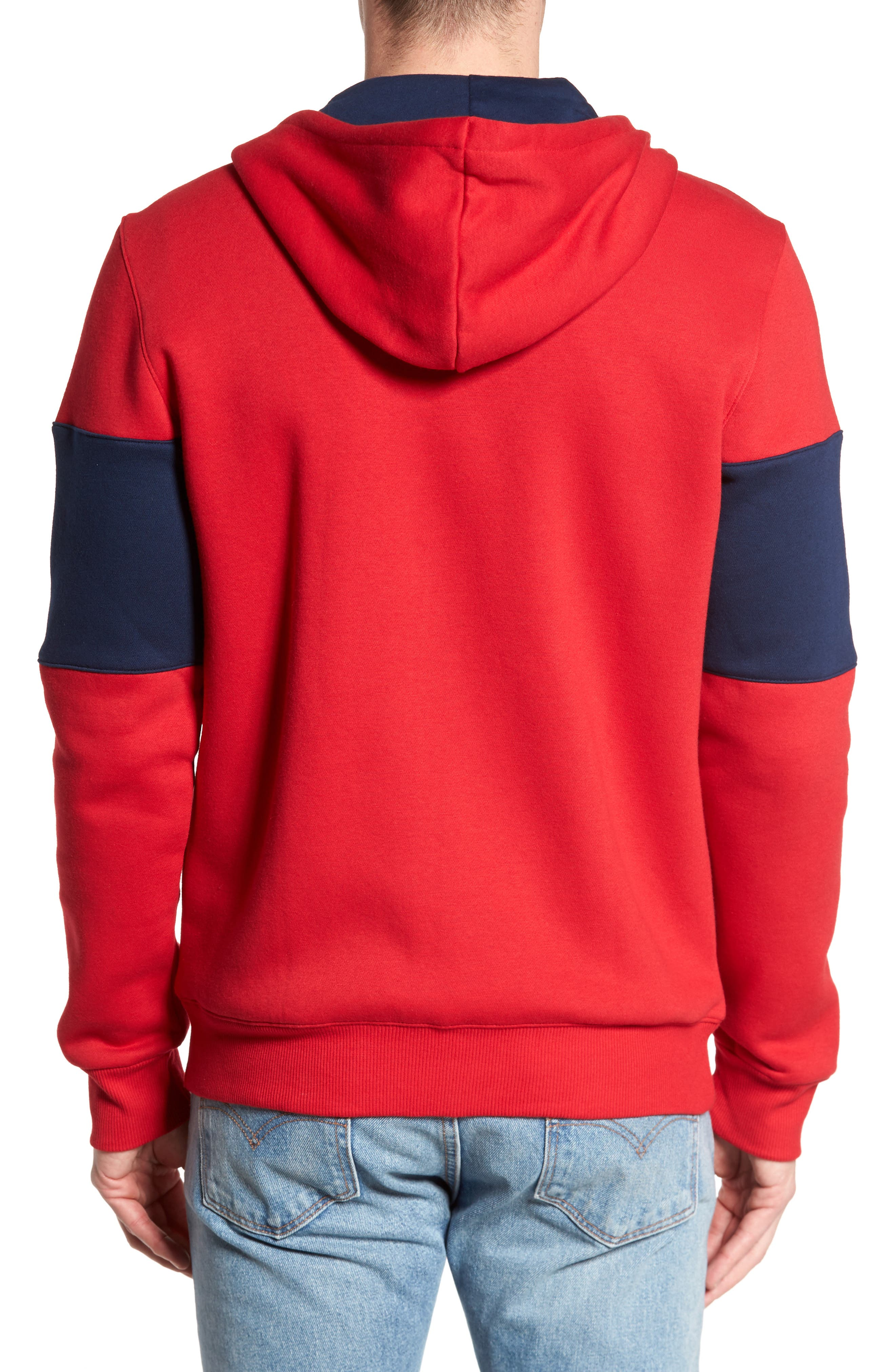 Classics Foundation Clockblock Zip Hoodie,                             Alternate thumbnail 2, color,                             Excellent Red/ Collegiate Navy