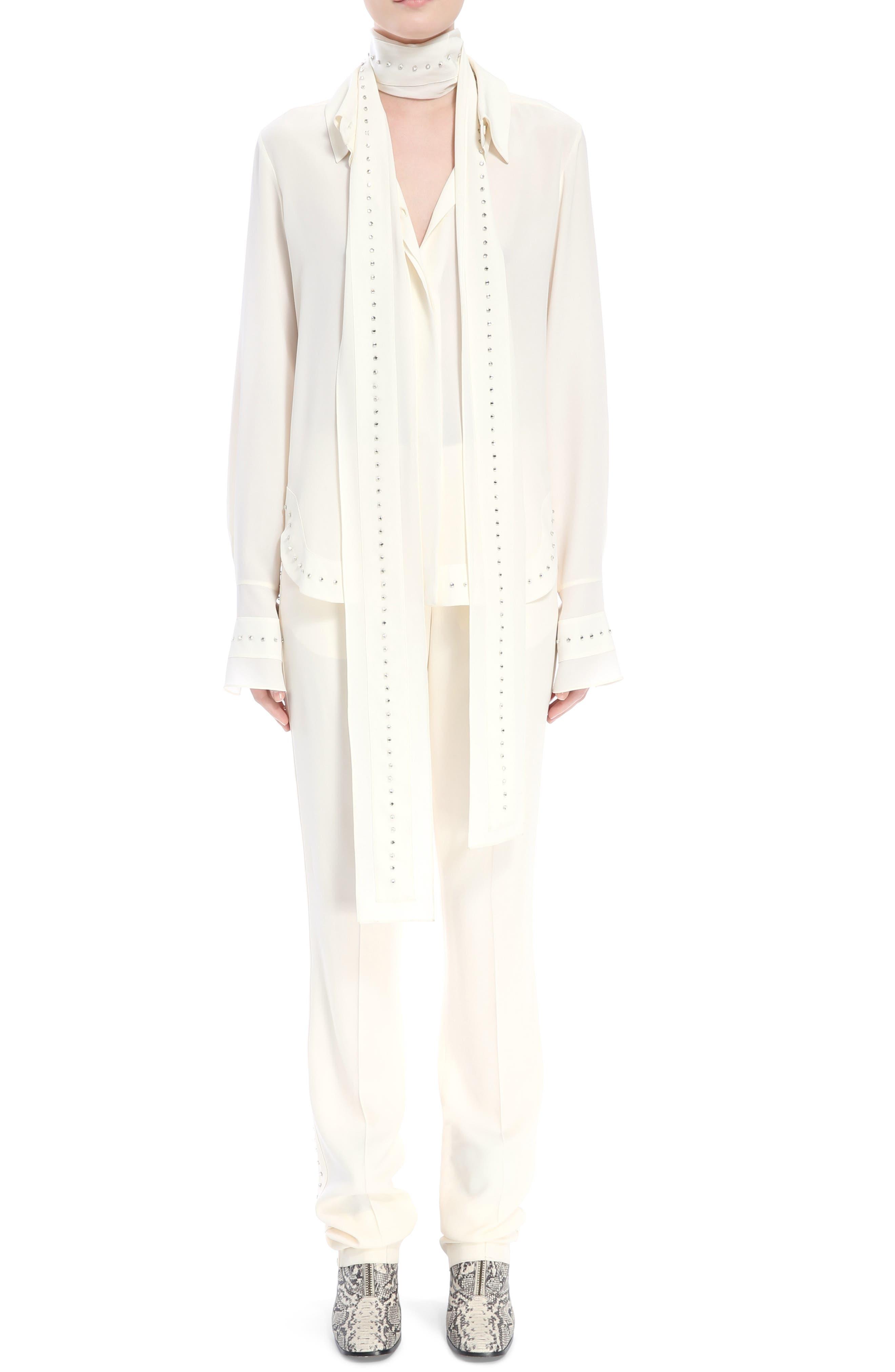 Rhinstone Trim Silk Shirt with Scarf,                             Alternate thumbnail 2, color,                             Eden White