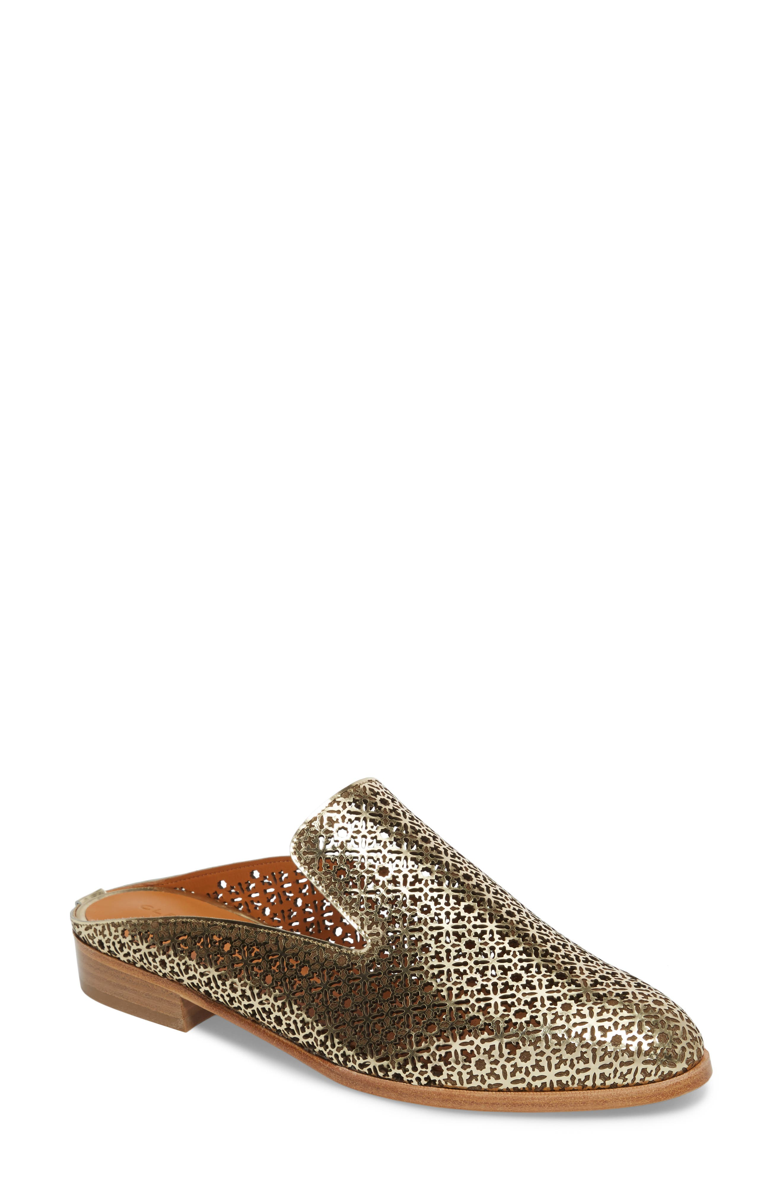 Asier Perforated Loafer Mule,                             Main thumbnail 1, color,                             Platino