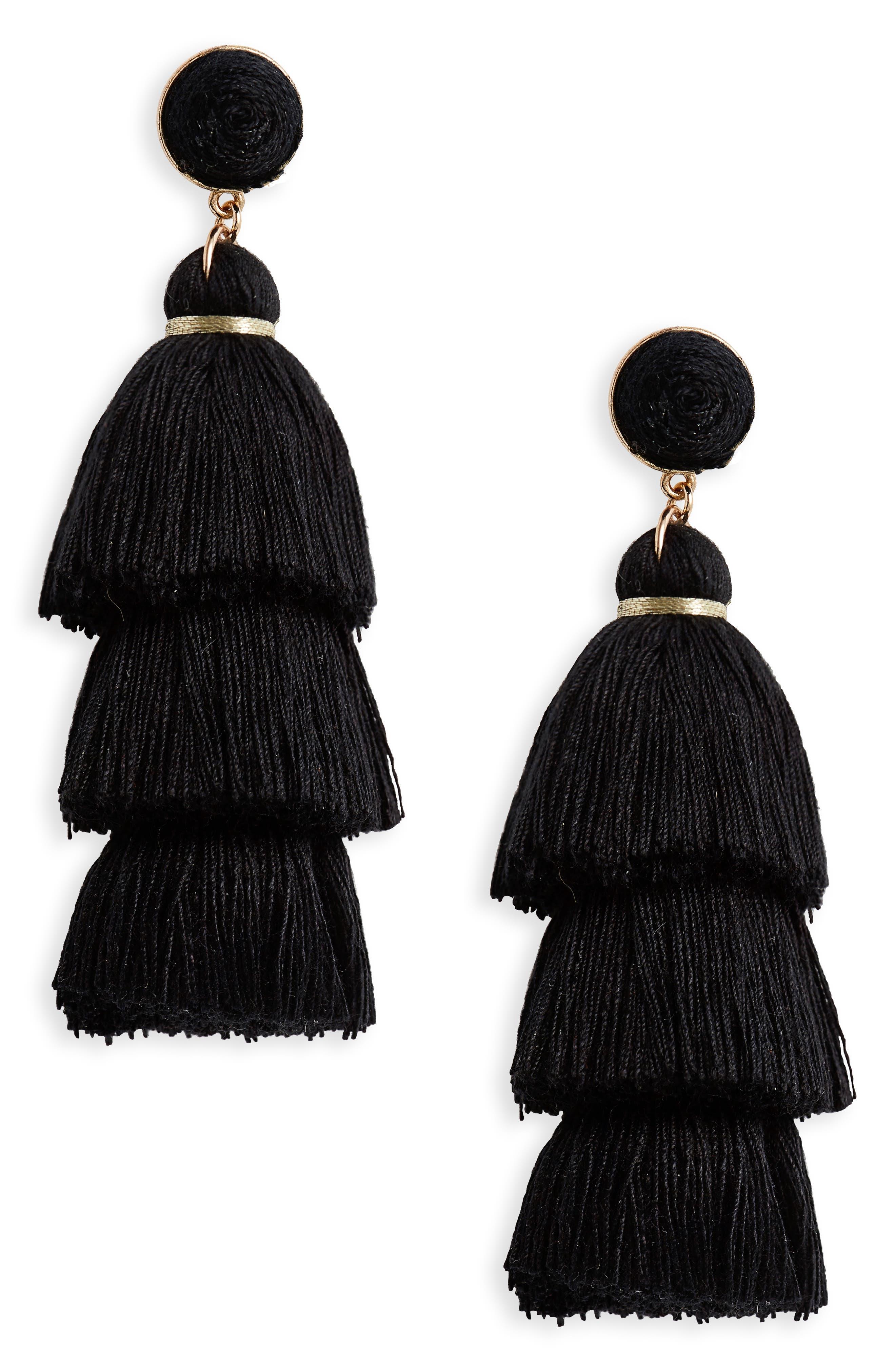 Tiered Tassel Earrings,                         Main,                         color, Black
