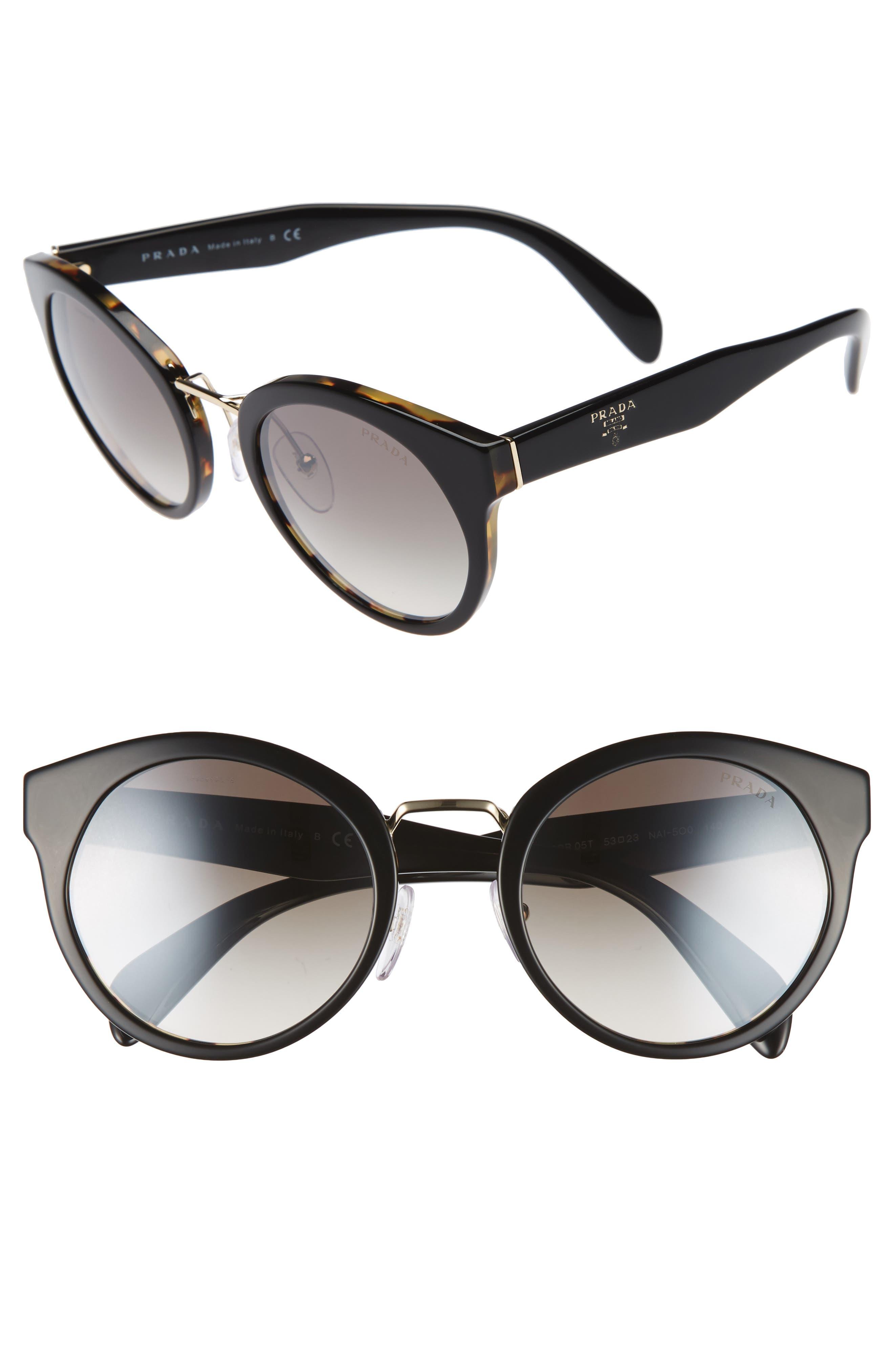 Prada 53mm Round Gradient Mirror Sunglasses
