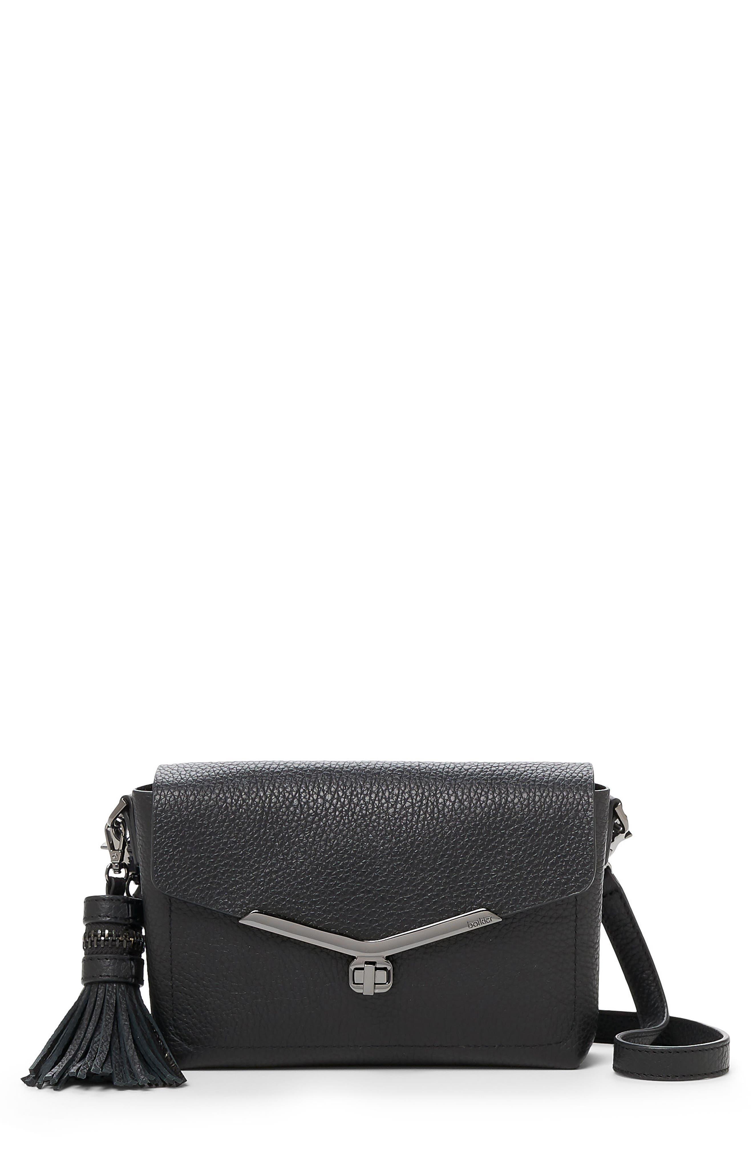 Vivi Leather Crossbody Bag,                             Main thumbnail 1, color,                             Black
