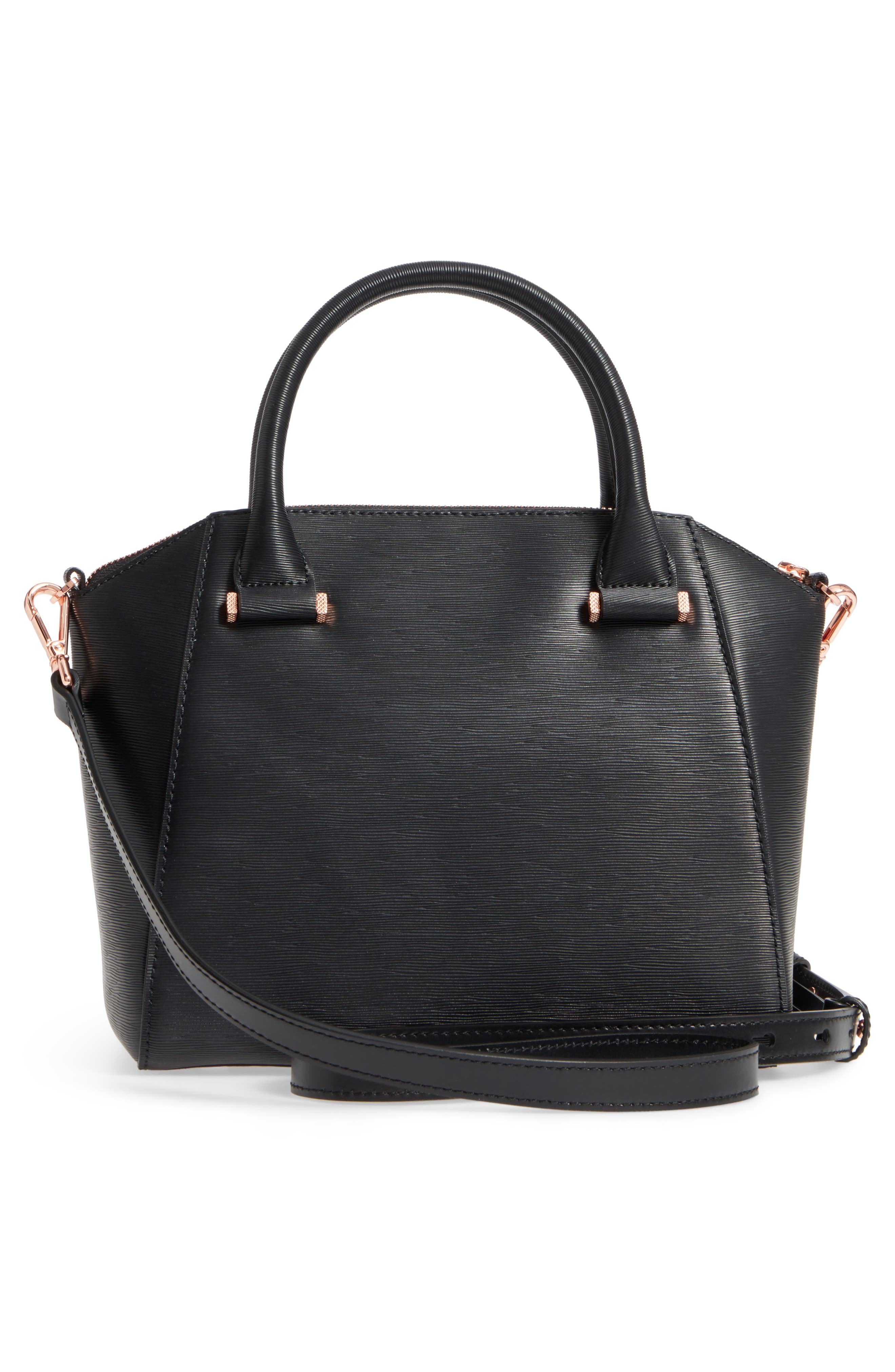 Charmea Bow Small Leather Tote,                             Alternate thumbnail 3, color,                             Black