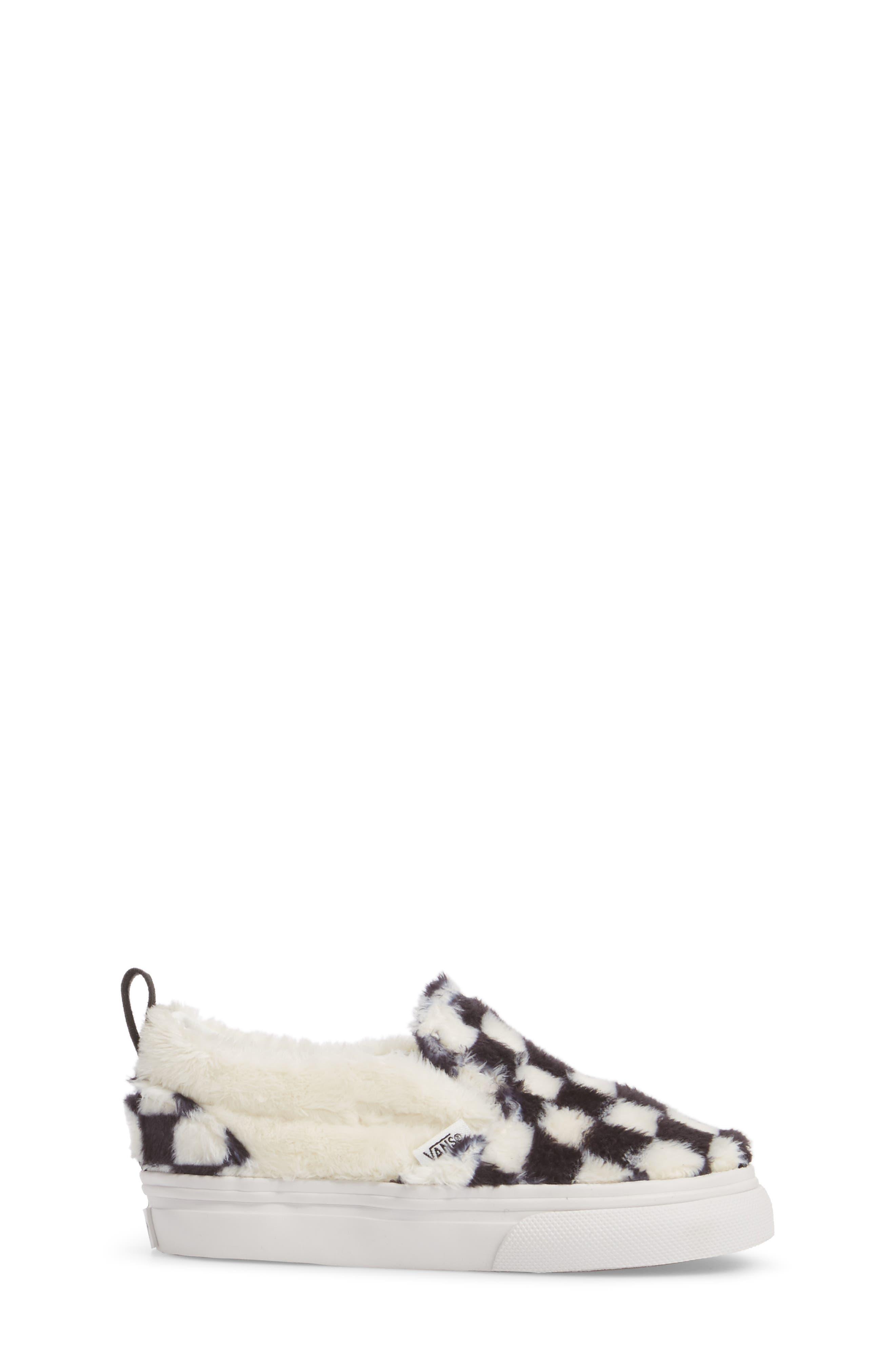 Faux Fur Slip-On Sneaker,                             Alternate thumbnail 3, color,                             Black/ White Sherpa Check