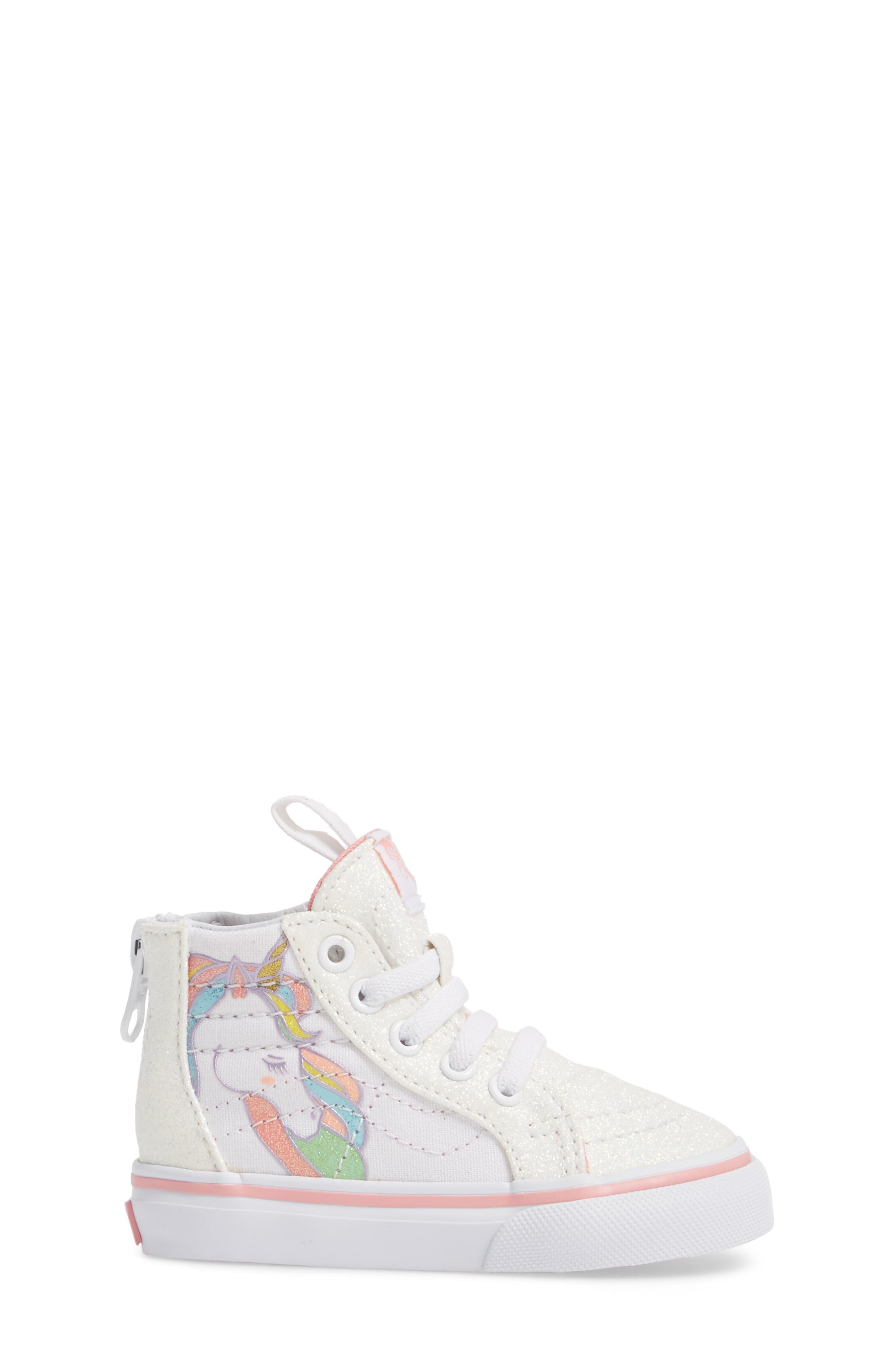 Alternate Image 3  - Vans SK8-Hi Zip Glitter Unicorn Sneaker (Baby, Walker & Toddler)