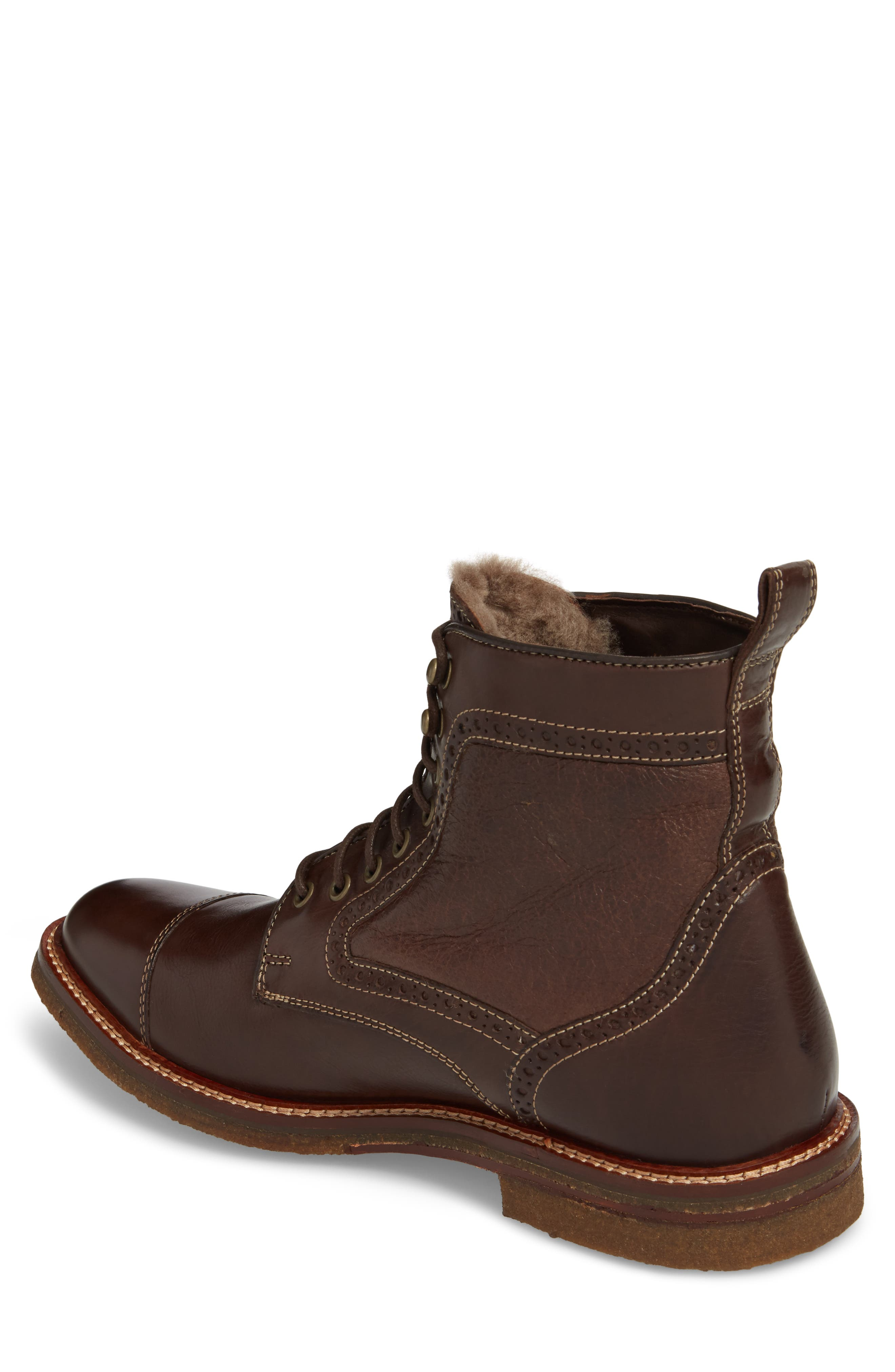 Forrester Genuine Shearling Lined Cap Toe Boot,                             Alternate thumbnail 2, color,                             Chocolate Leather