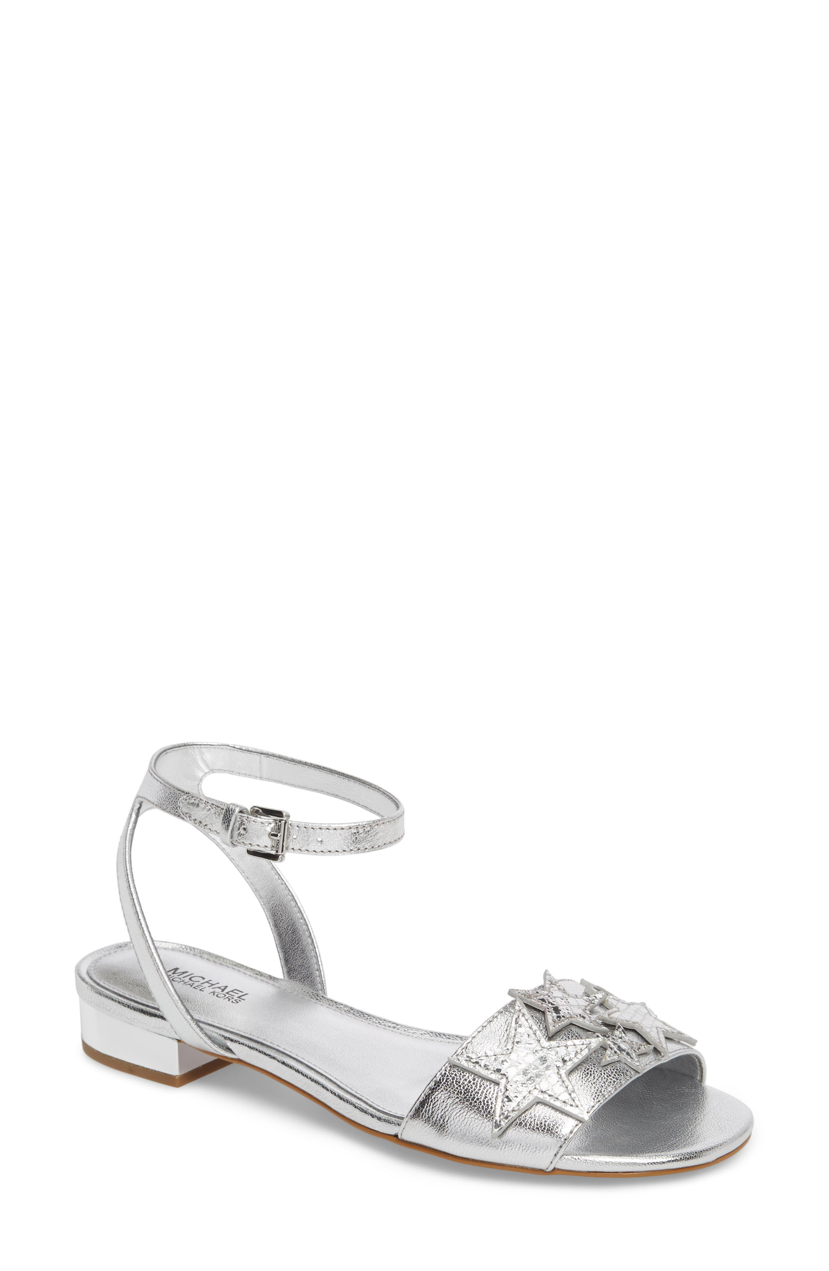 Lexie Star Embellished Sandal,                             Main thumbnail 1, color,                             Silver Nappa Leather