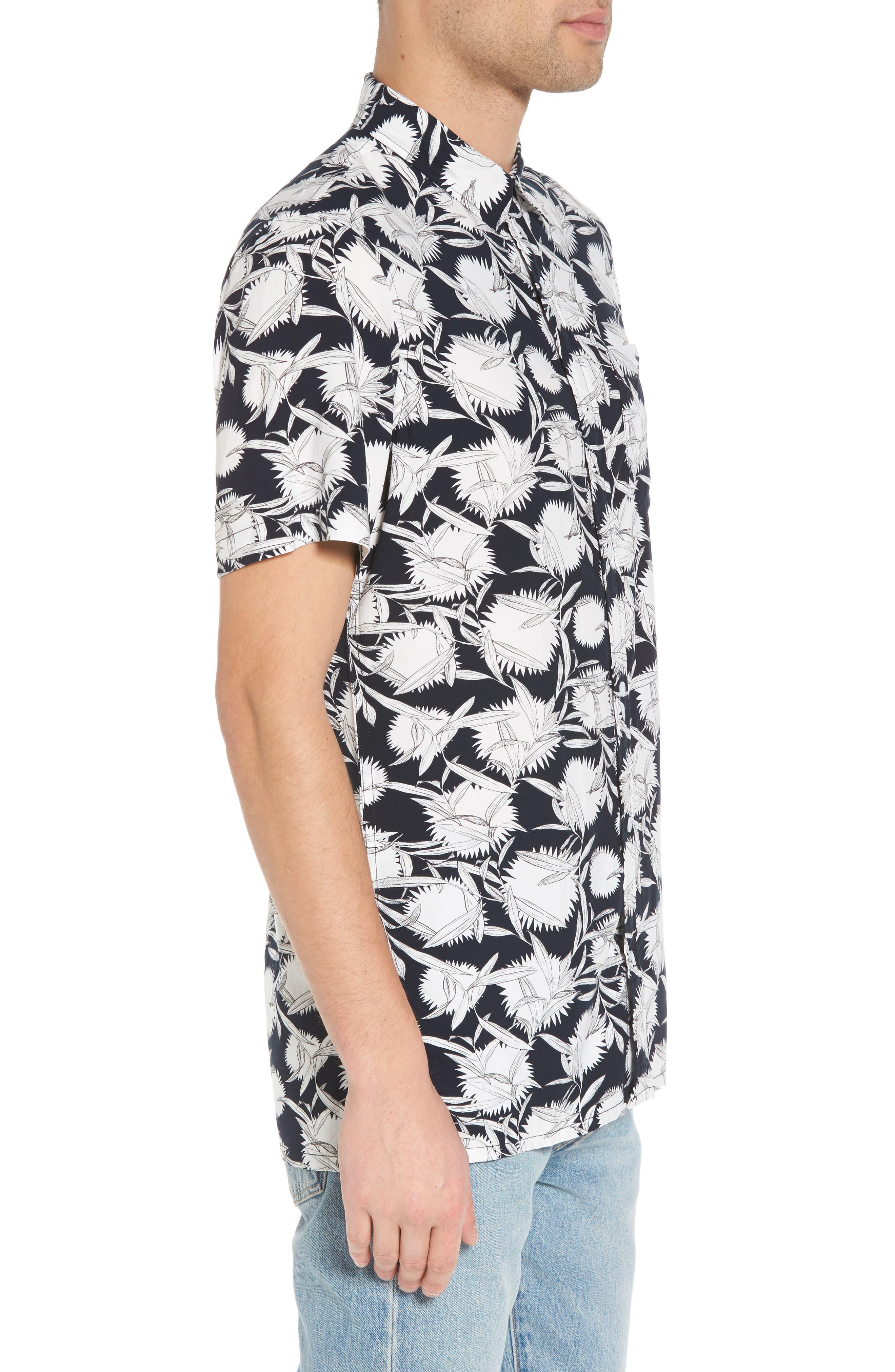 Print Woven Shirt,                             Alternate thumbnail 3, color,                             Black White Flower Leaf