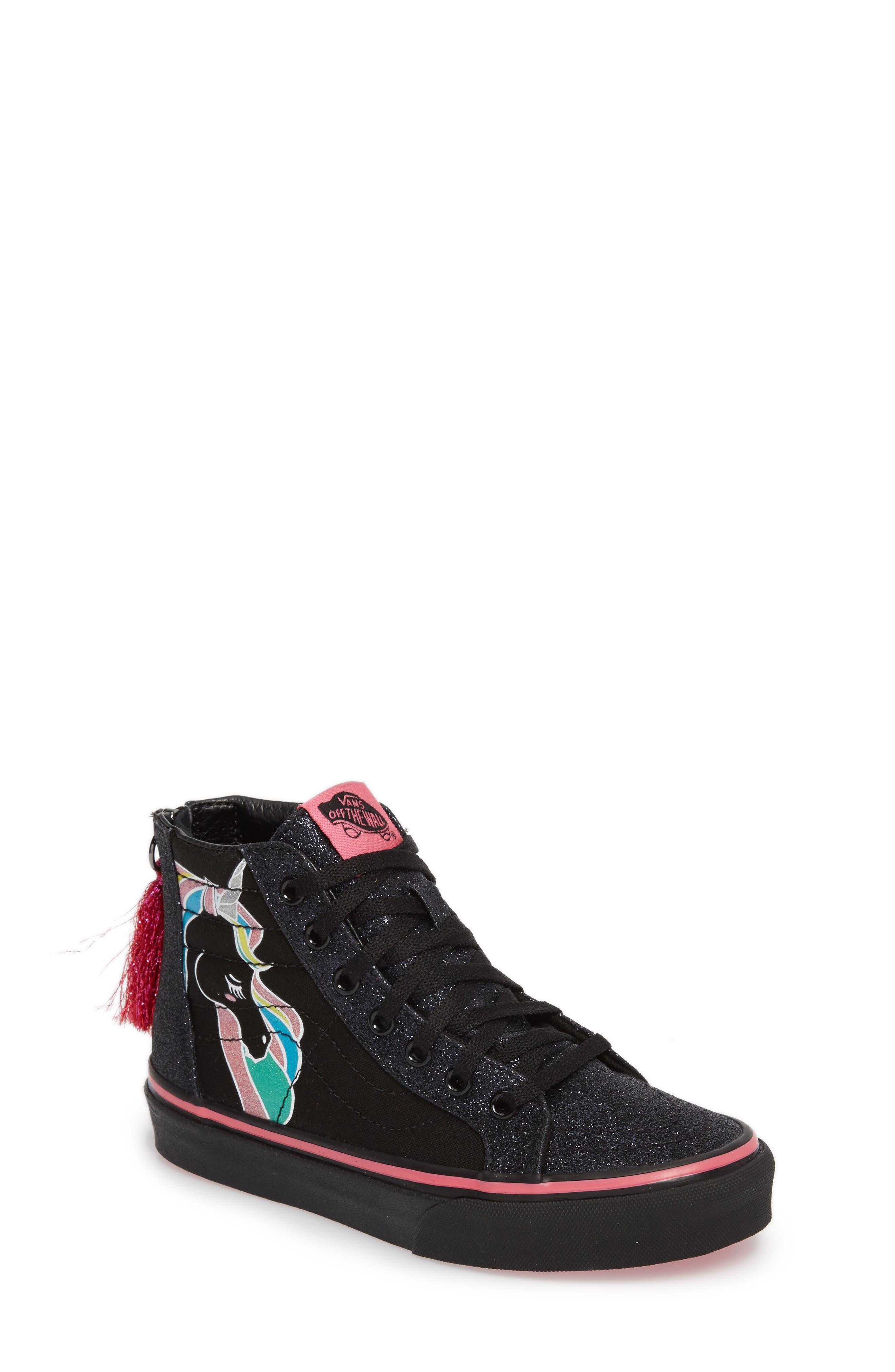 Vans Sk8-Hi Zip Unicorn Glitter High Top Sneaker (Baby, Walker, Toddler, Little Kid & Big Kid)