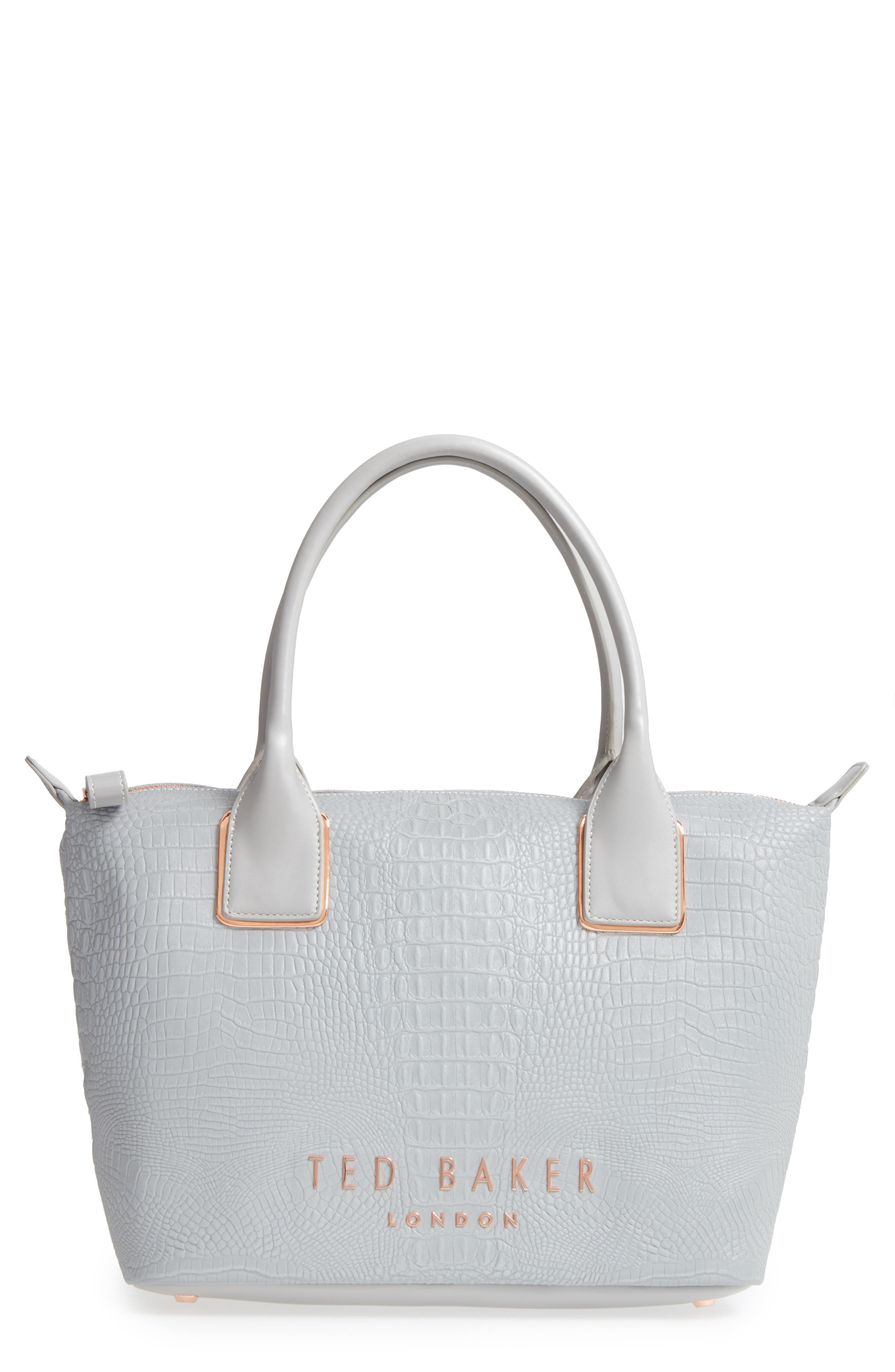 Main Image - Ted Baker London Remus Reflective Croc Embossed Faux Leather Tote