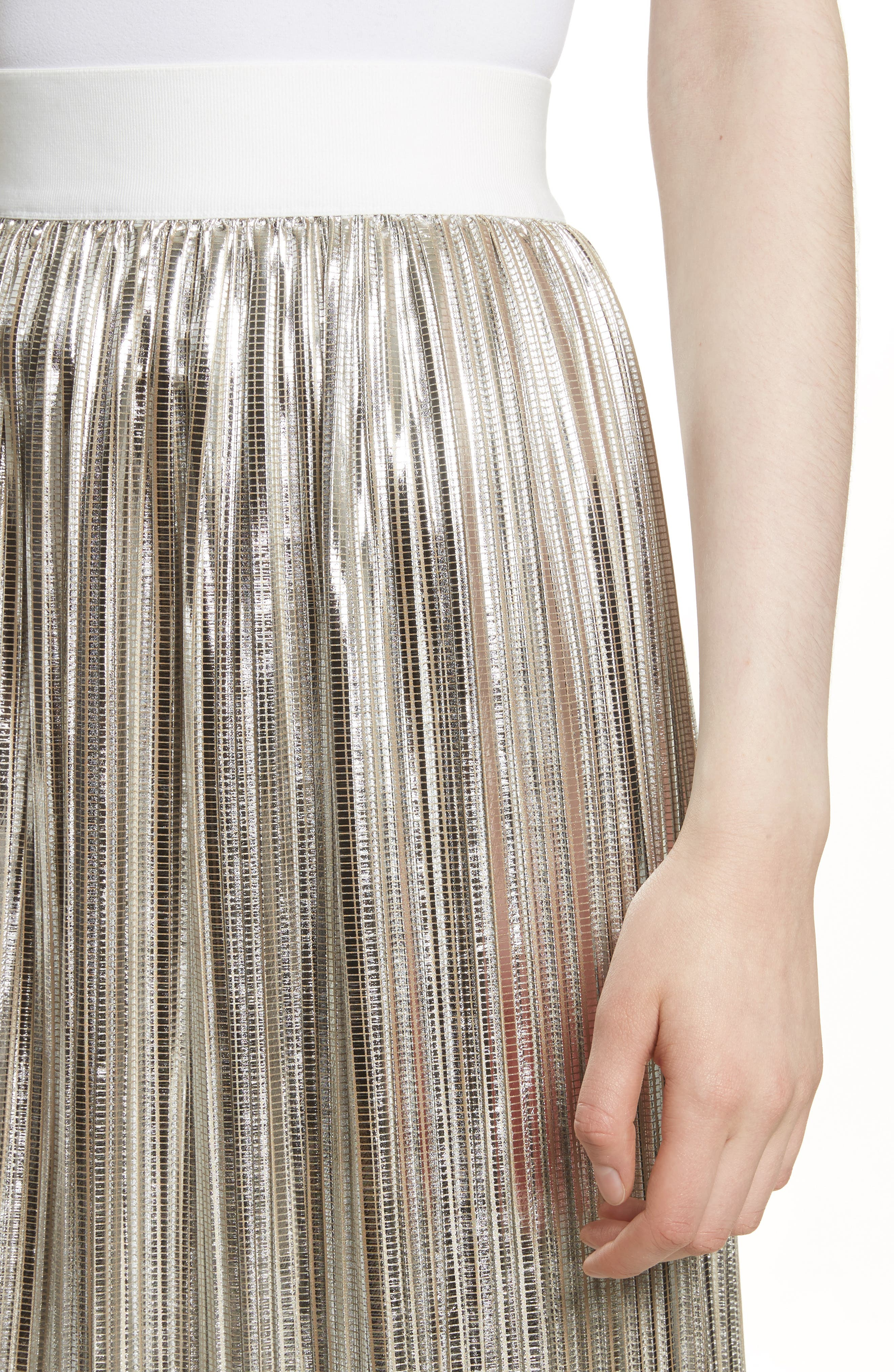 Mikaela Pleat Metallic Skirt,                             Alternate thumbnail 4, color,                             Silver Metallic