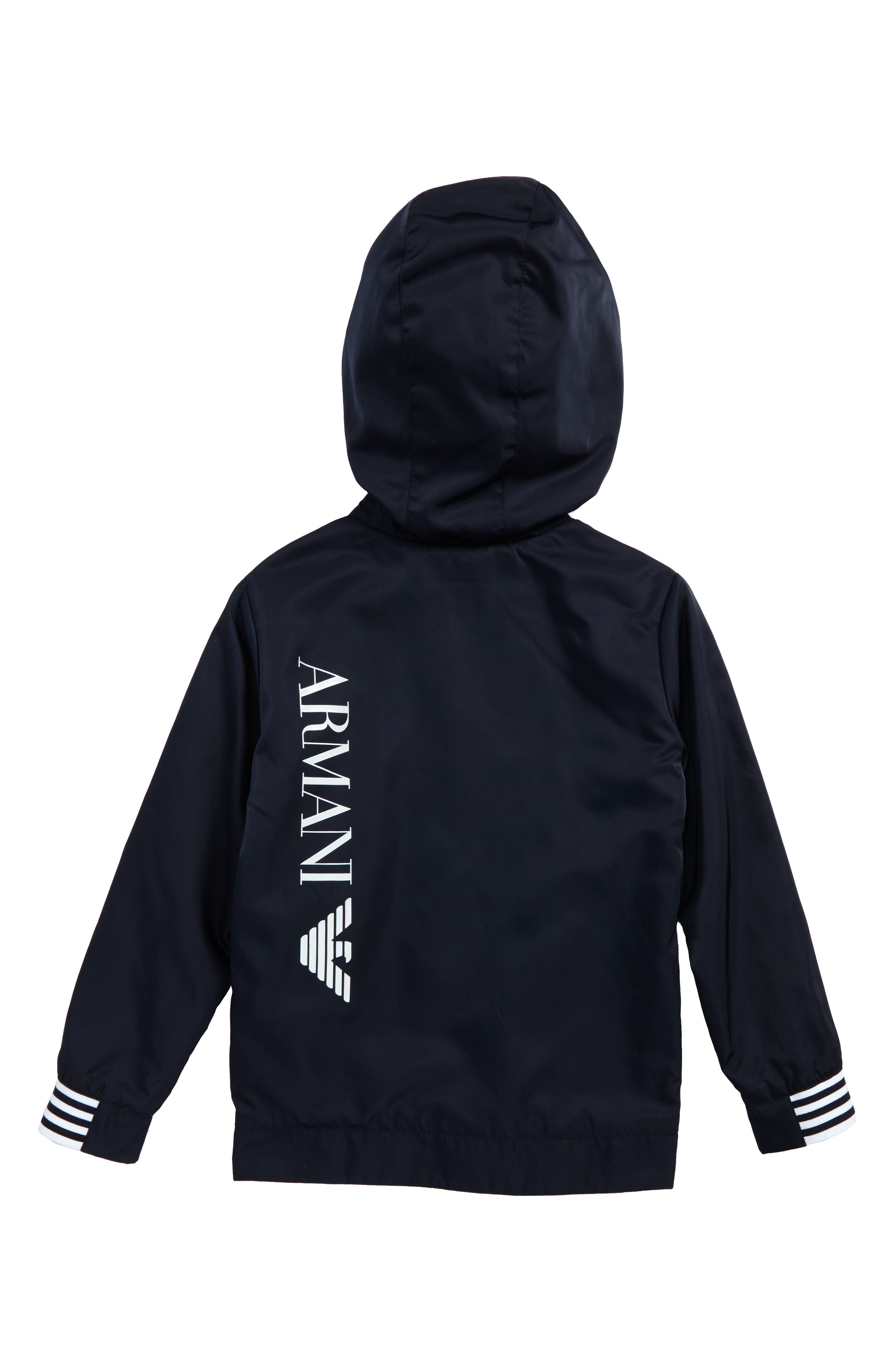 Alternate Image 2  - Armani Junior Logo Hooded Jacket (Little Boys & Big Boys)