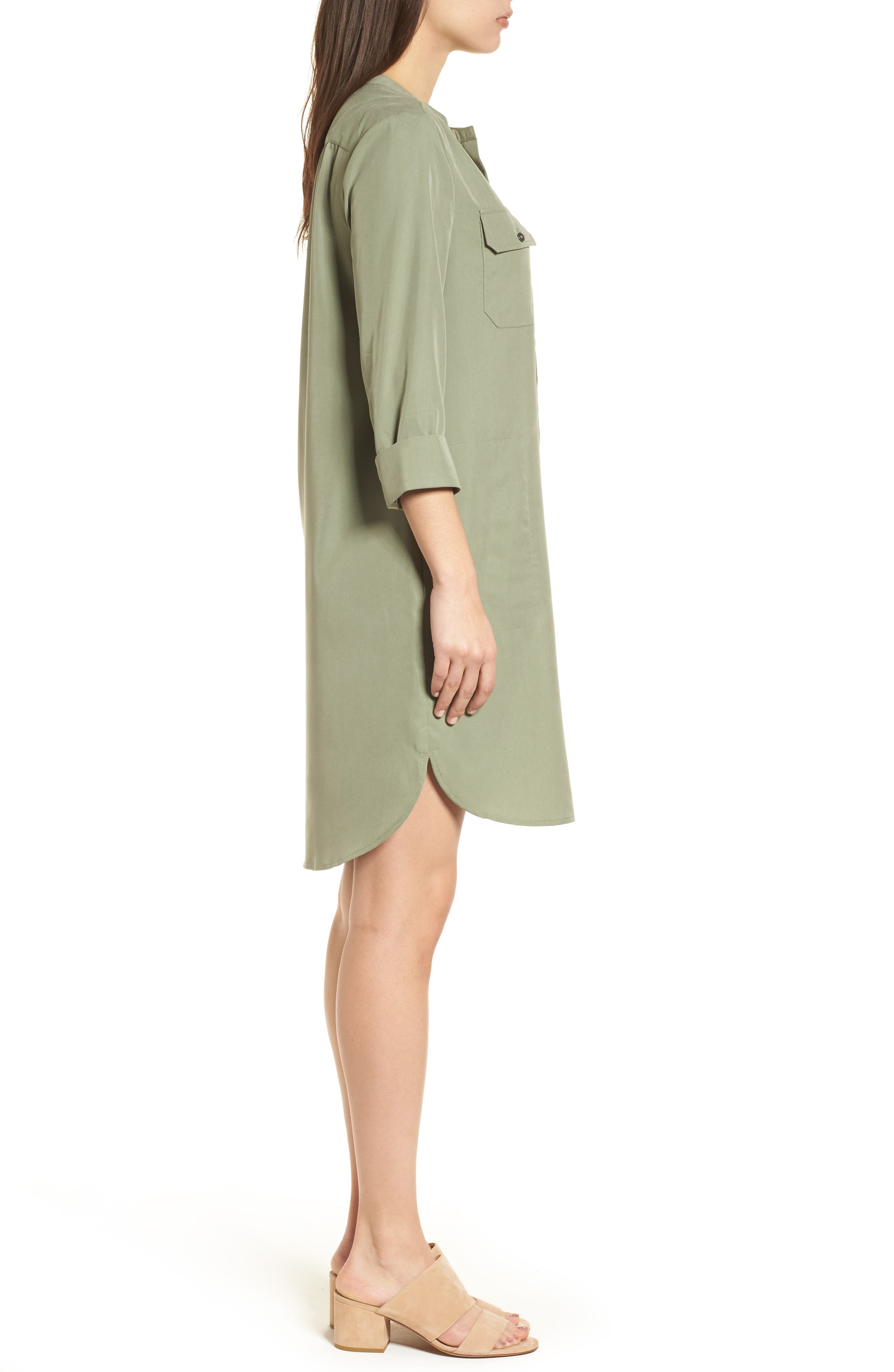 Wanderlust Shirtdress,                             Alternate thumbnail 3, color,                             Spring Moss