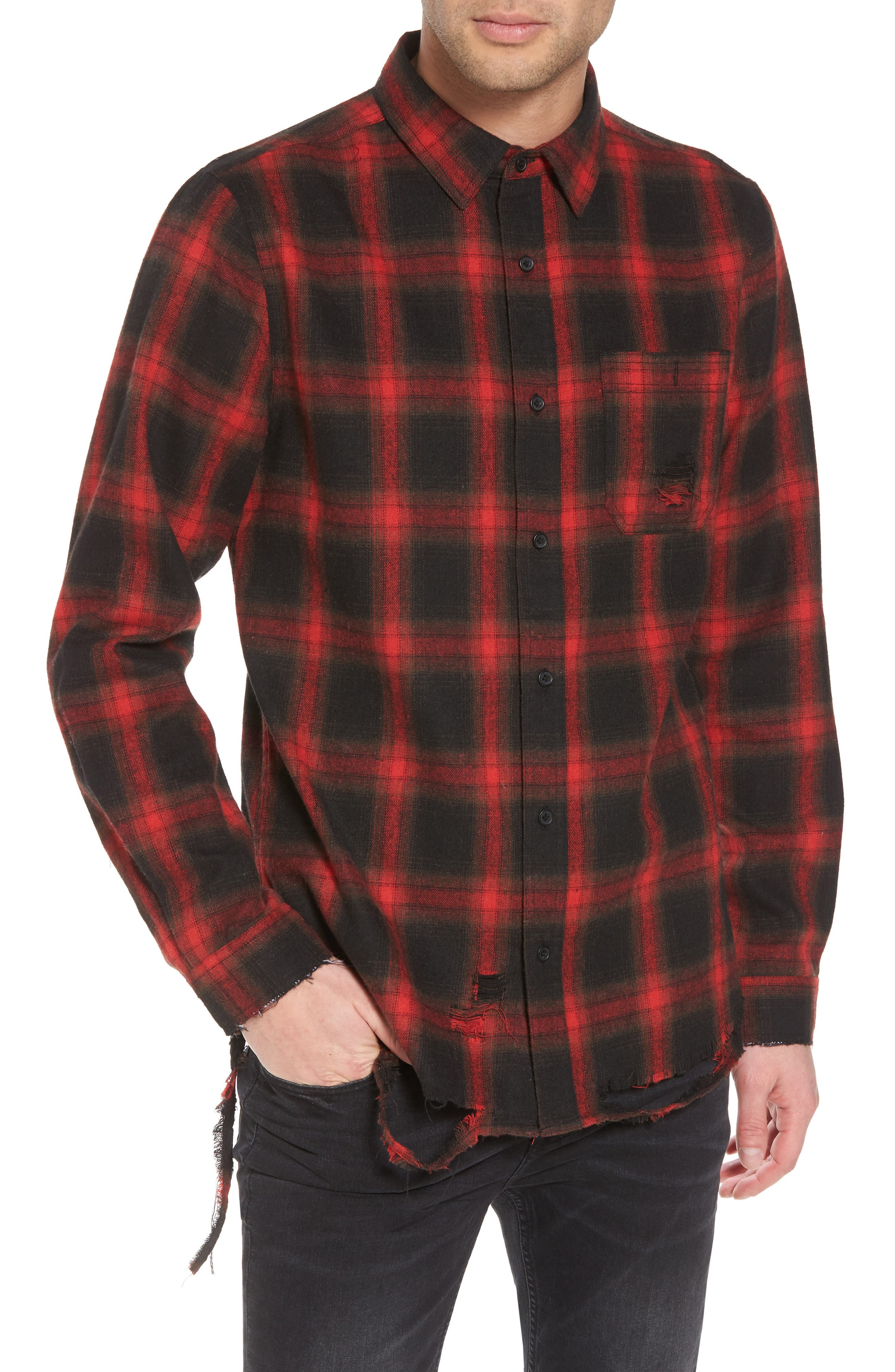 Shredded Plaid Flannel Shirt,                         Main,                         color, Black Rock Red Ombre Check