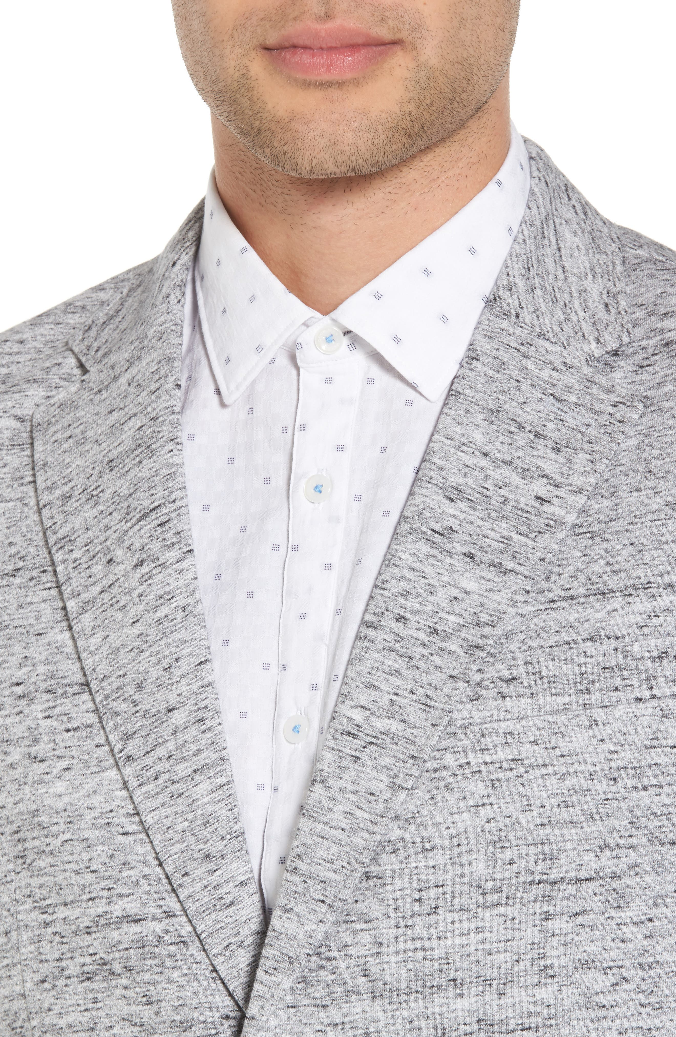 Soft Cotton Unconstructed Blazer,                             Alternate thumbnail 4, color,                             Grey Heather / White