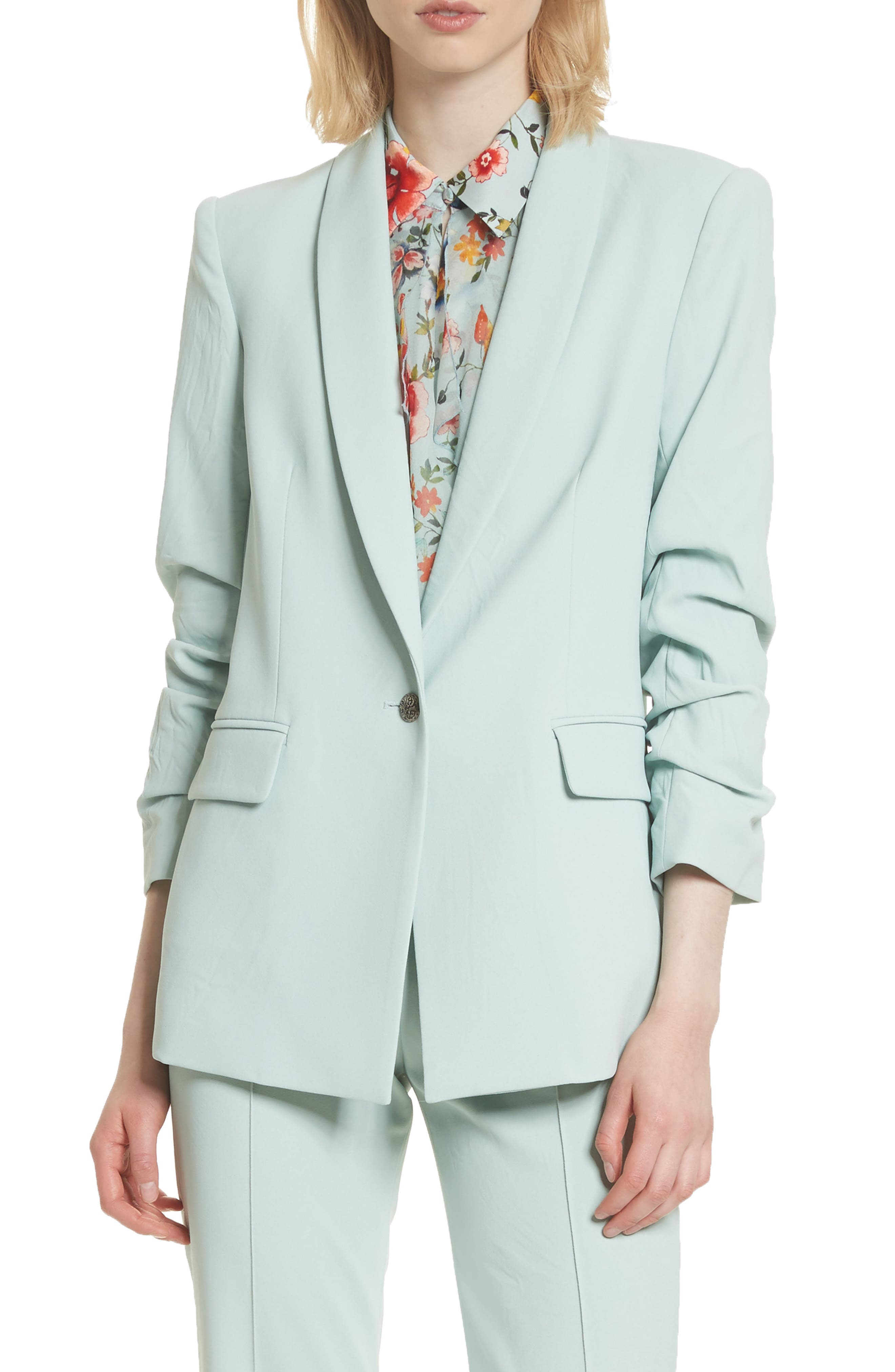 Ruched Sleeve Blazer,                             Main thumbnail 1, color,                             Light Dusty Aqua