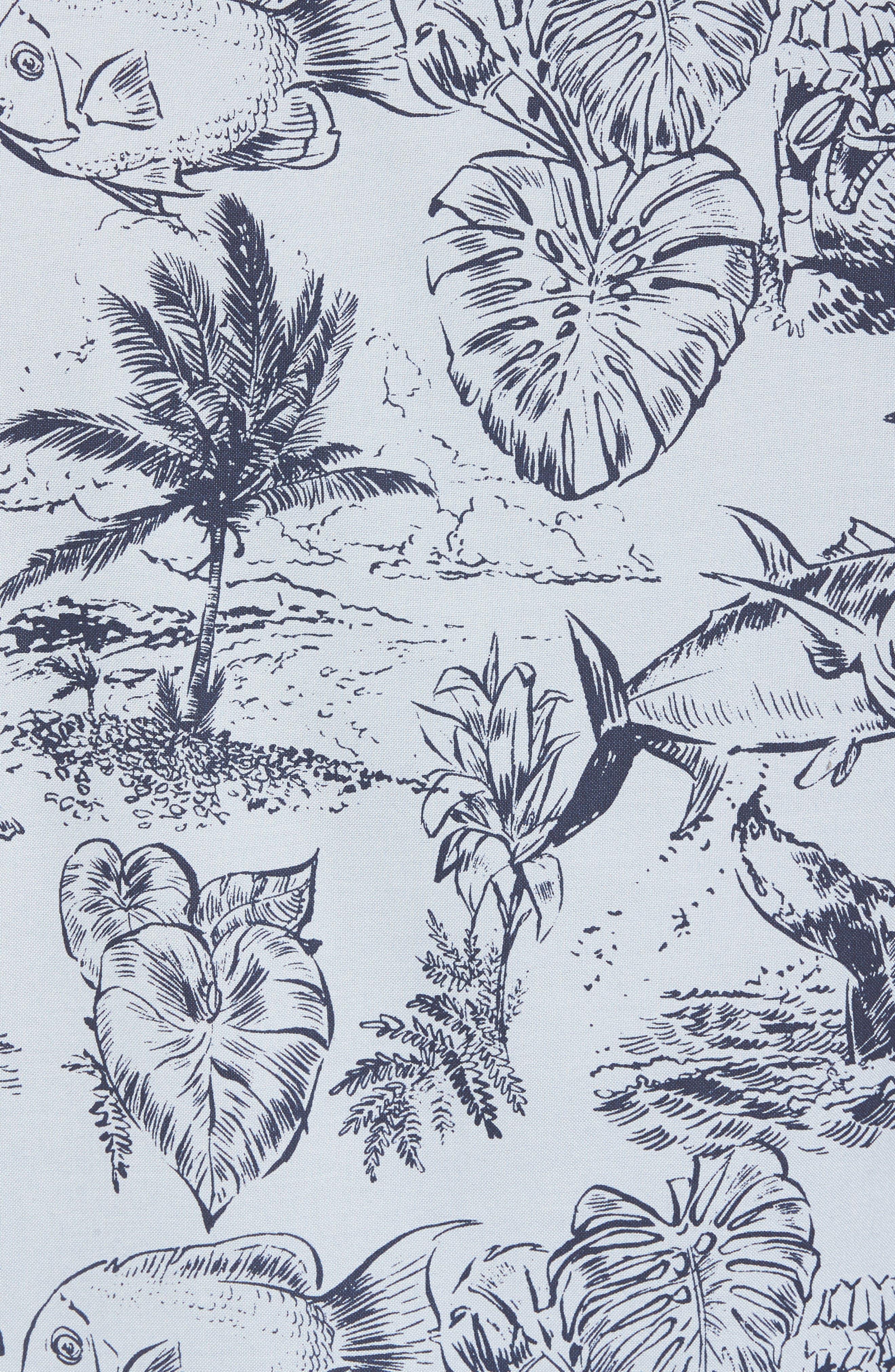 Aloha Woven Shirt,                             Alternate thumbnail 5, color,                             Deja Blue
