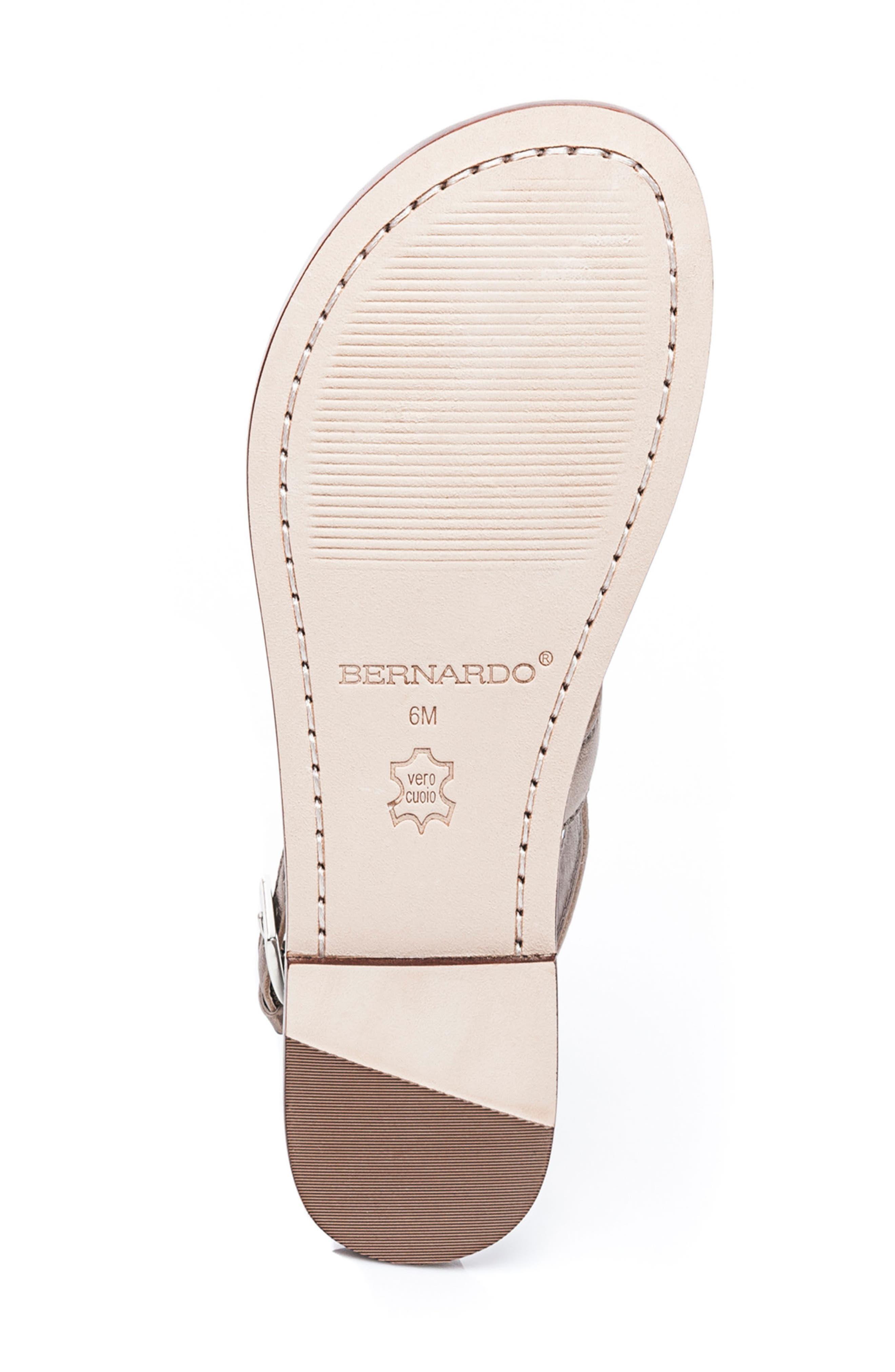 Bernardo Maverick Leather Sandal,                             Alternate thumbnail 6, color,                             Platinum Leather